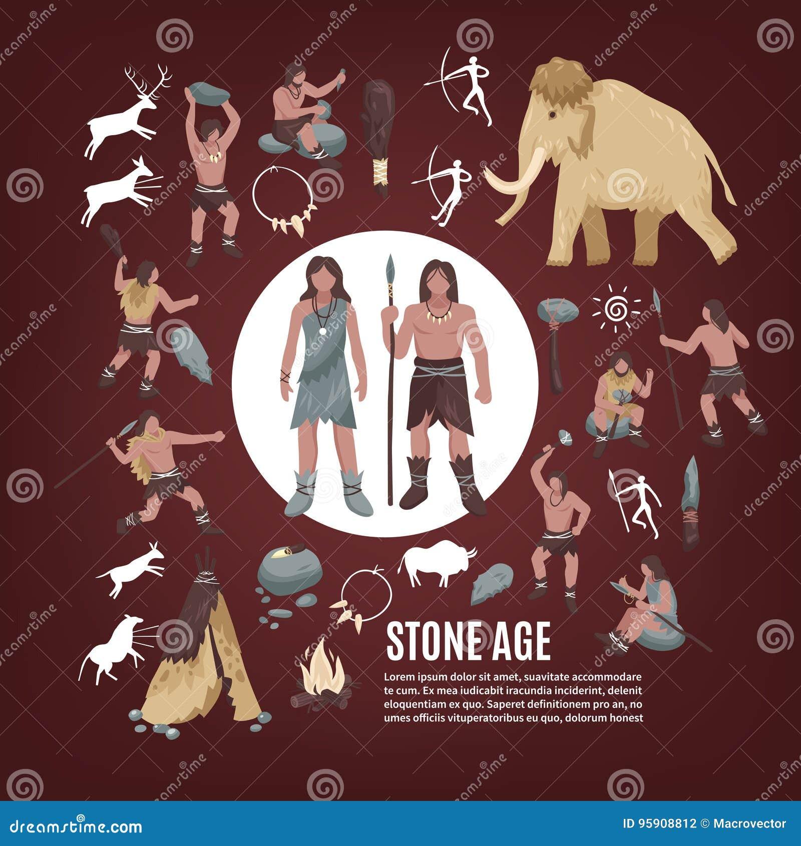 Steinzeitalter-Leute-Ikonen eingestellt