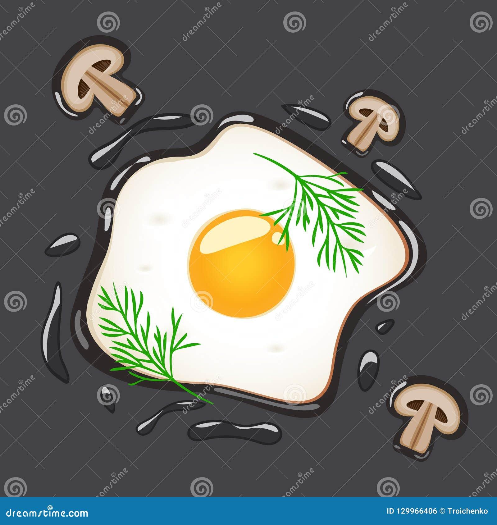 Stekte ägg med dill och champinjoner som isoleras på grå bakgrund också vektor för coreldrawillustration