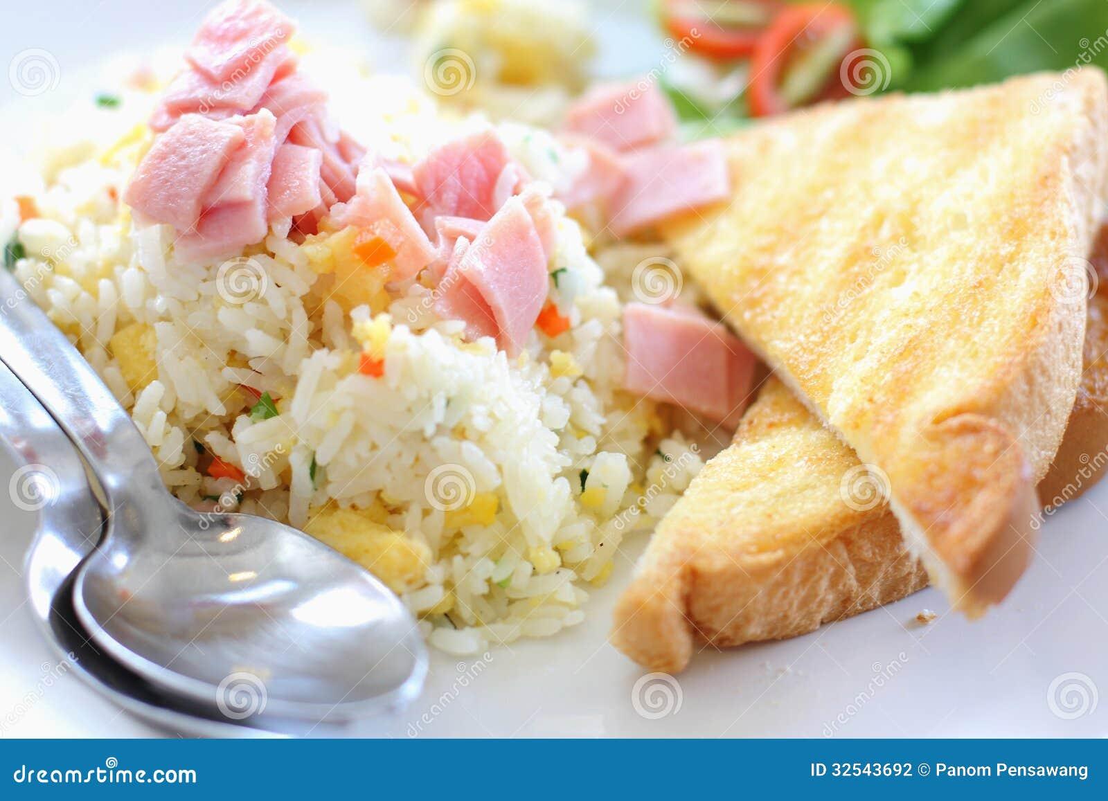 Stekte ris med skinka