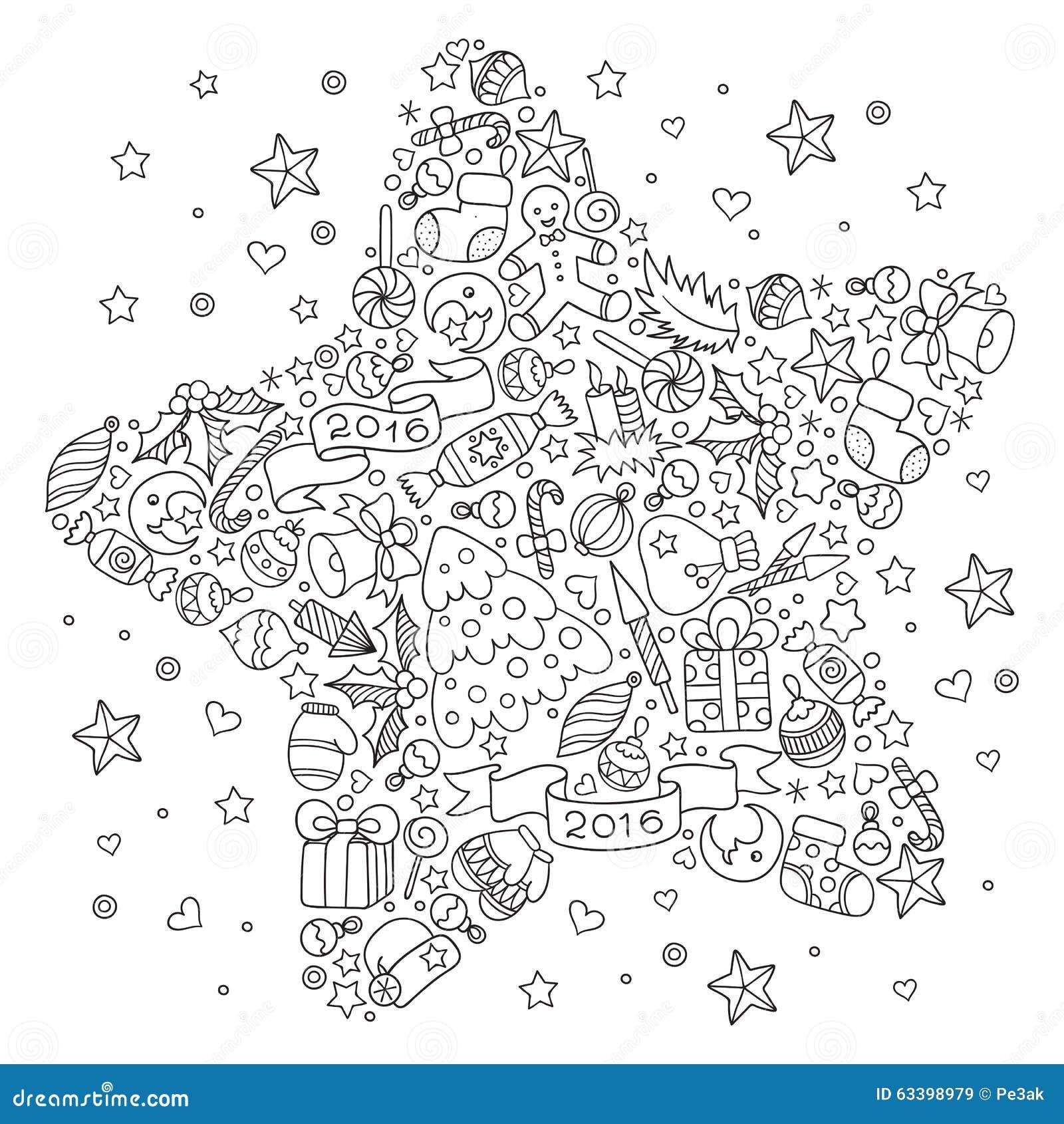 Stella Di Natale Da Colorare.Stella Di Natale Dagli Elementi Decorativi Di Natale Illustrazione
