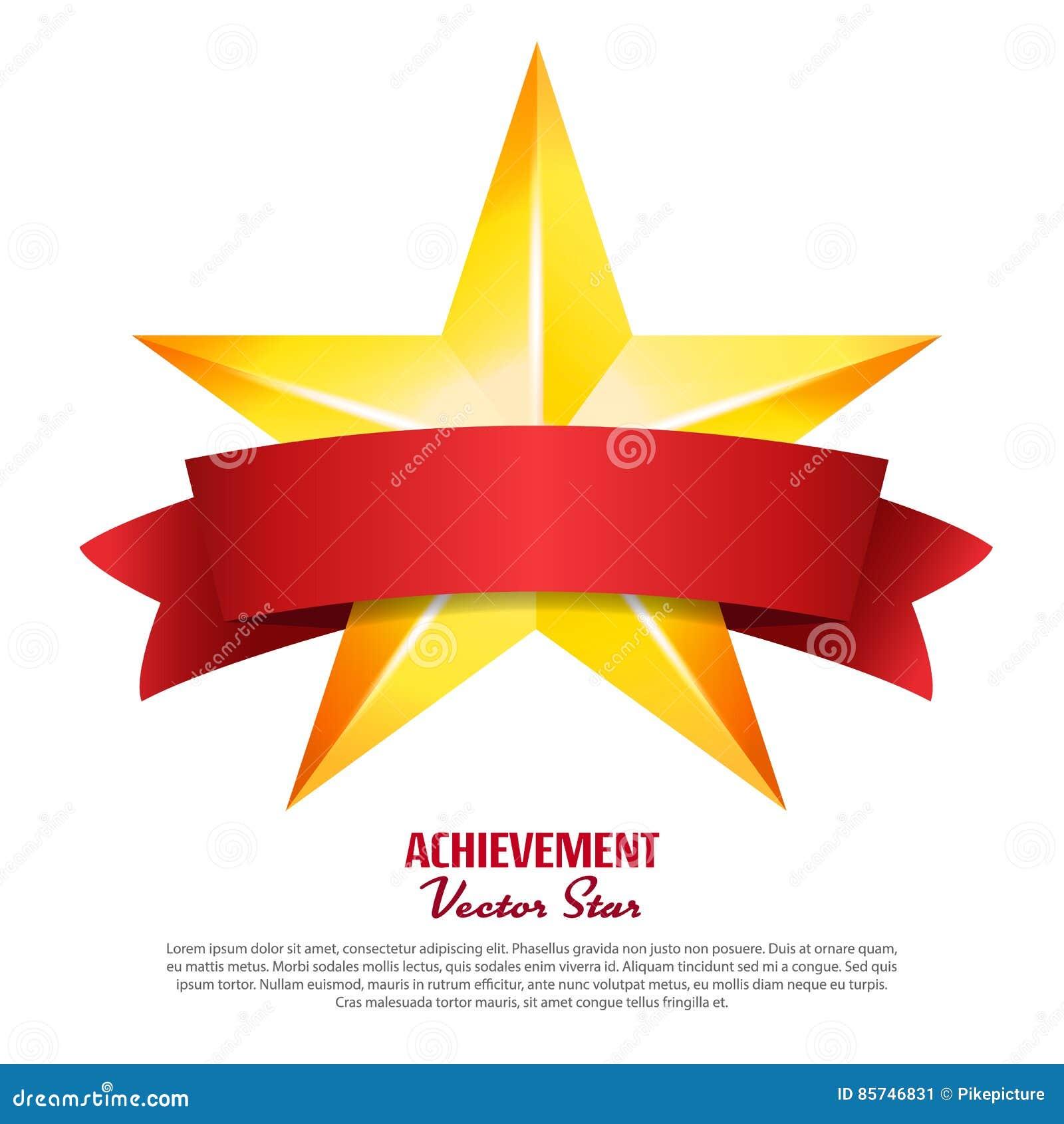 Stella di vettore di risultato con il nastro rosso Posto giallo del segno per testo Simbolo dorato della decorazione 3d lustro O