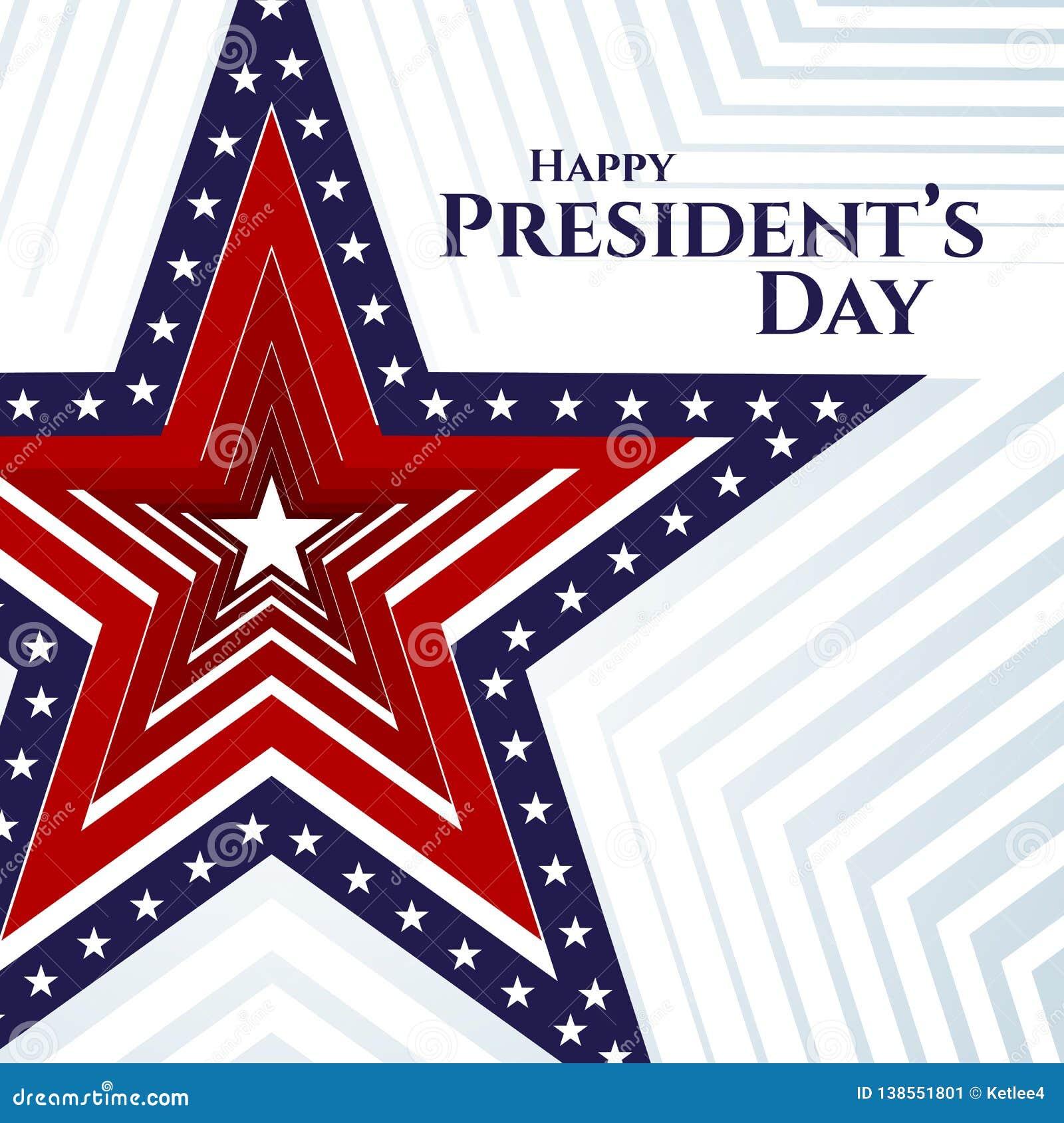 Stella felice della bandiera americana dell insegna del testo di giorno di presidente sulle bande americane patriottiche del fond