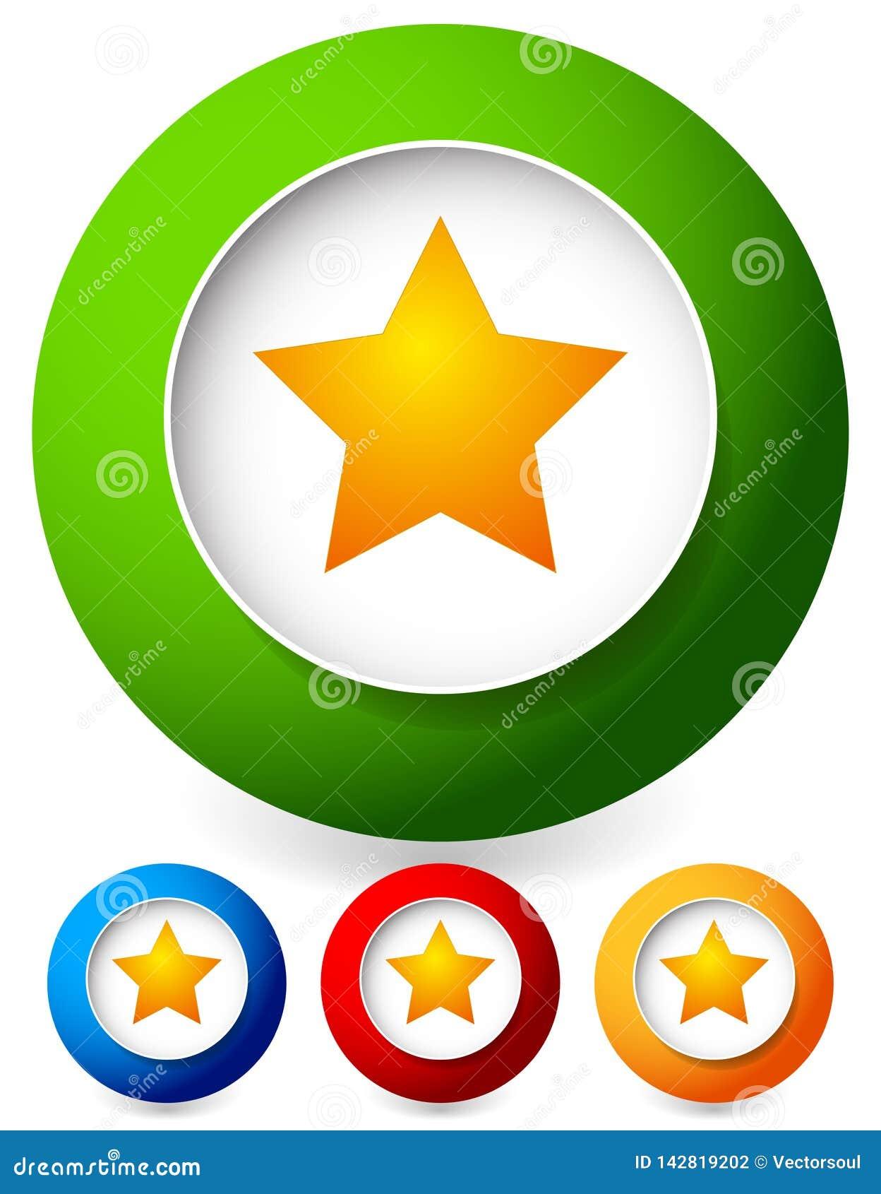 Stella in un icona del cerchio Grafici di vettore