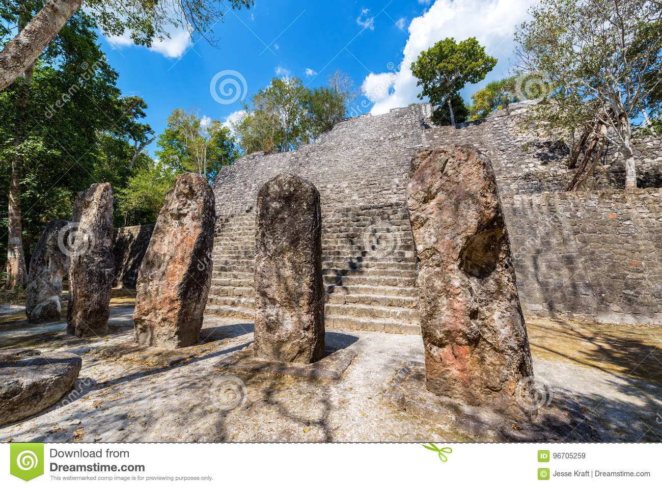 Stellae and Pyramid in Calakmul, Mexico