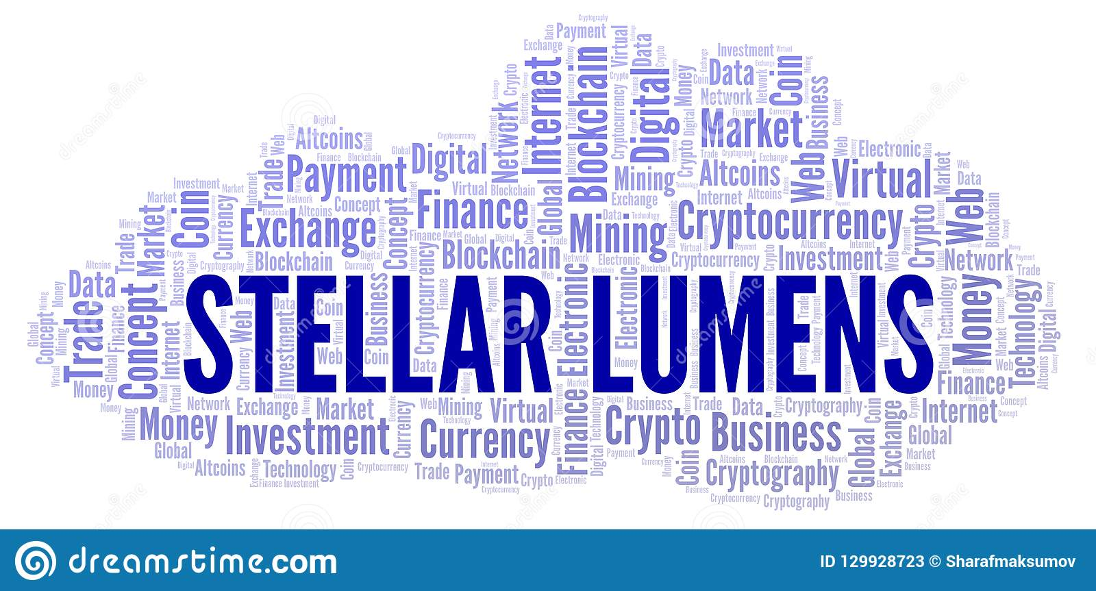 Stellar Lumens Cryptocurrency Coin Word Cloud  Stock