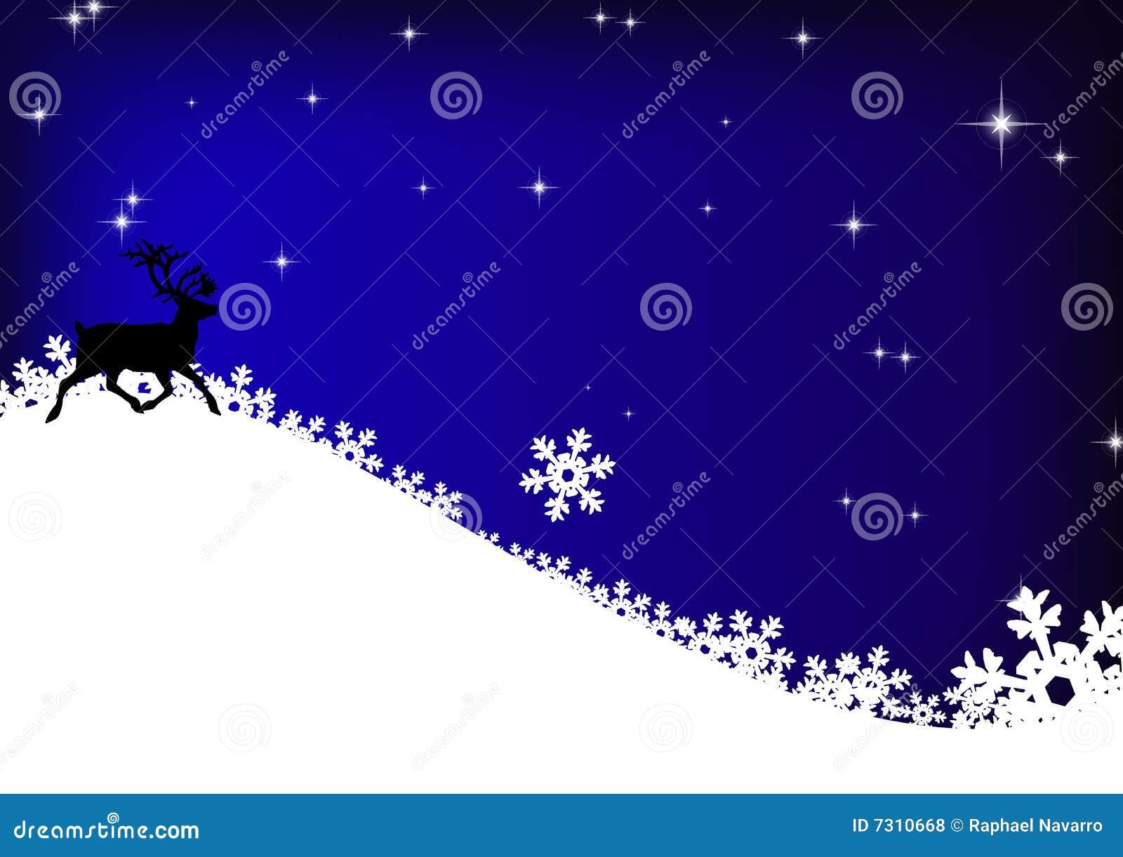 Stelle, renna e fiocchi di neve