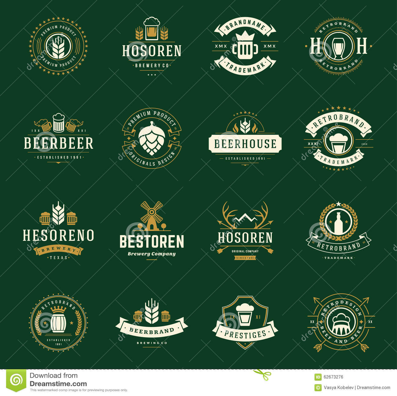stellen sie bier-logos, ausweise ein und beschriftet weinlese-art