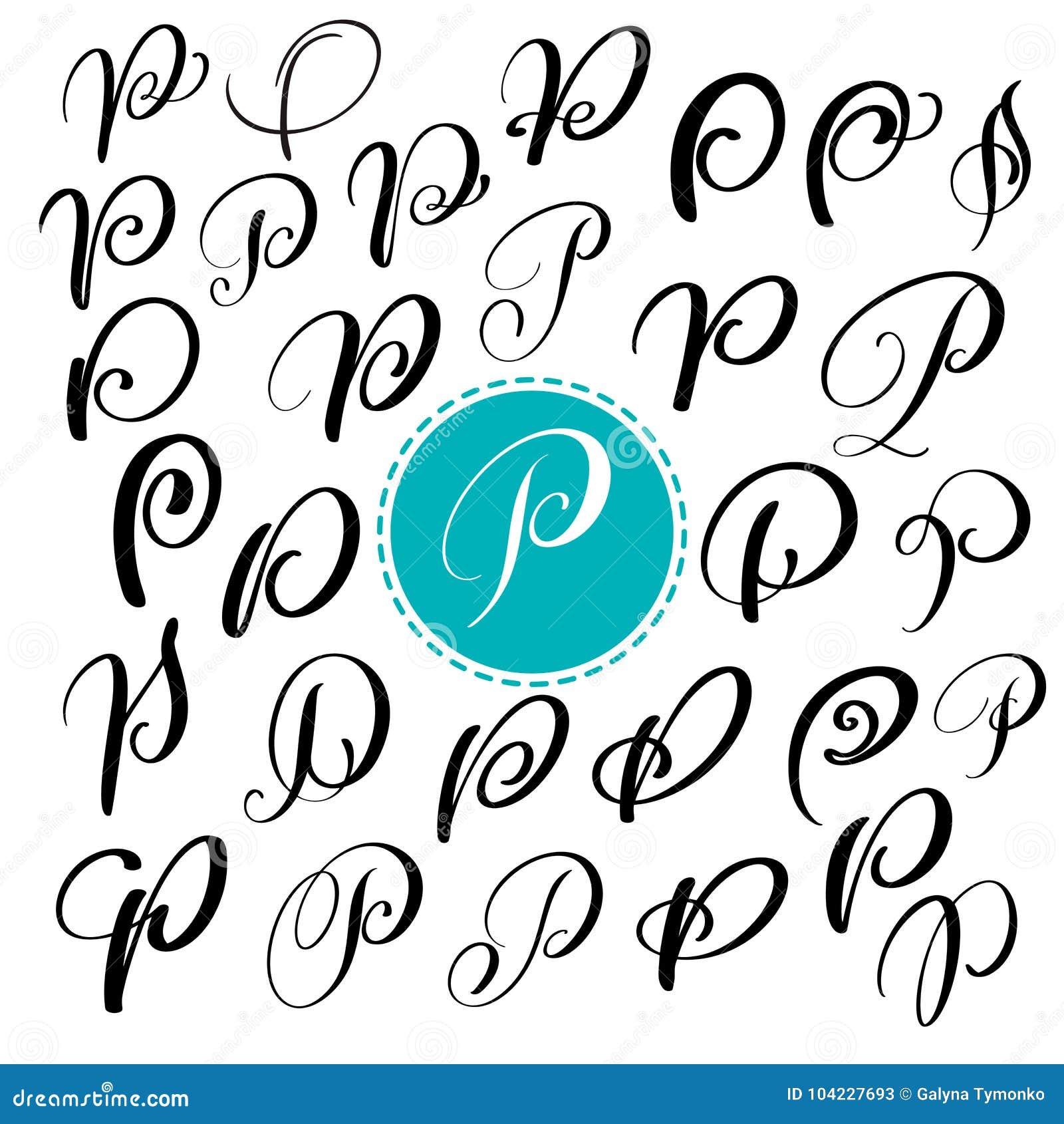 Stellen Sie Buchstaben P Ein Hand Gezeichnete Vektor ...