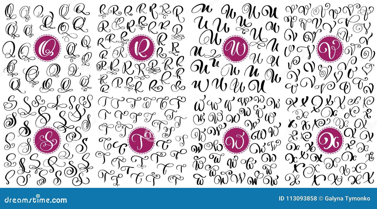 Stellen Sie Buchstaben Q, R, S, T, U, V, W, Flourishkalligraphie ...