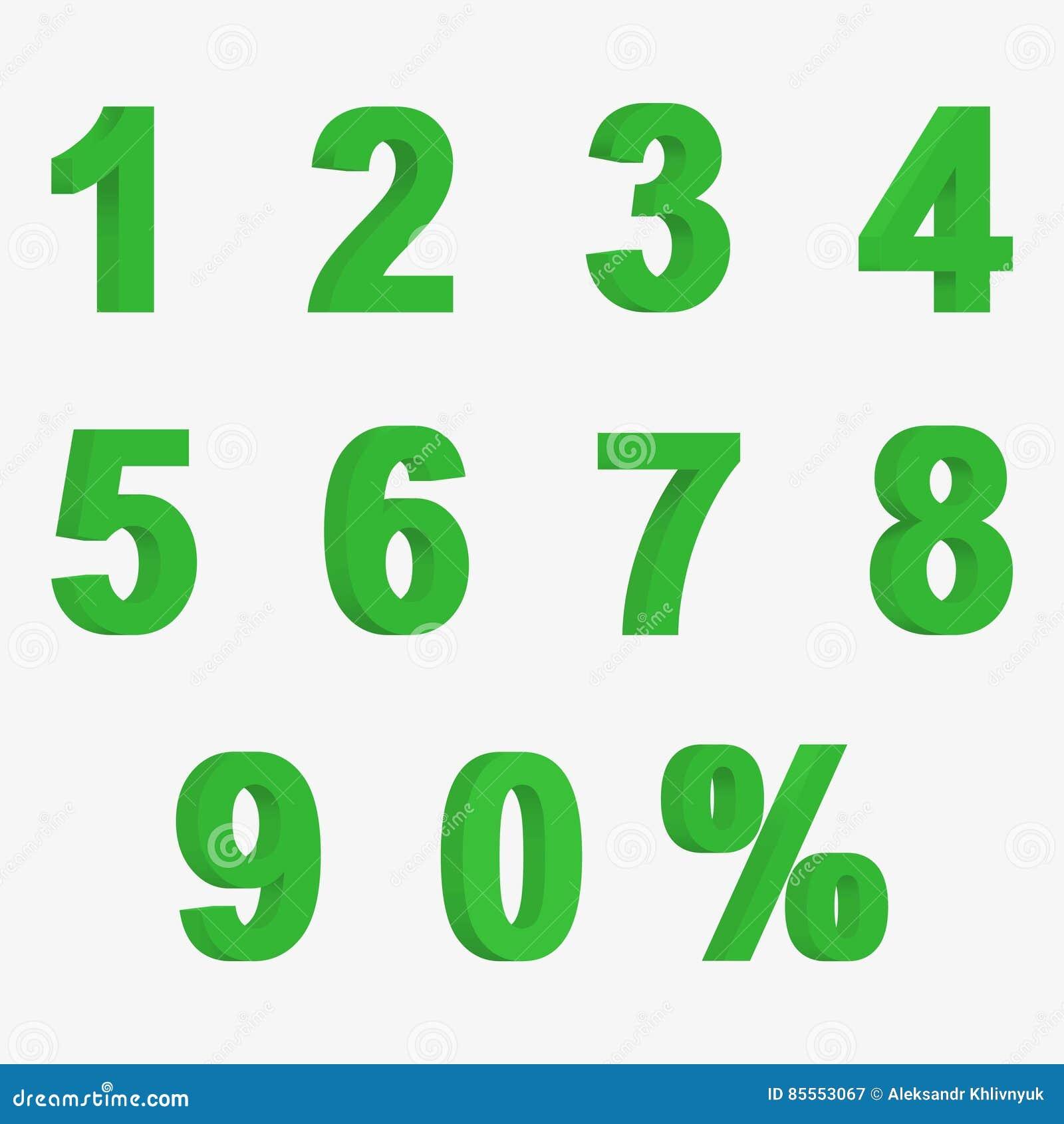 Stellen Sie 3D von Zahlen der grünen Farbe und von Zeichen von Prozenten ein