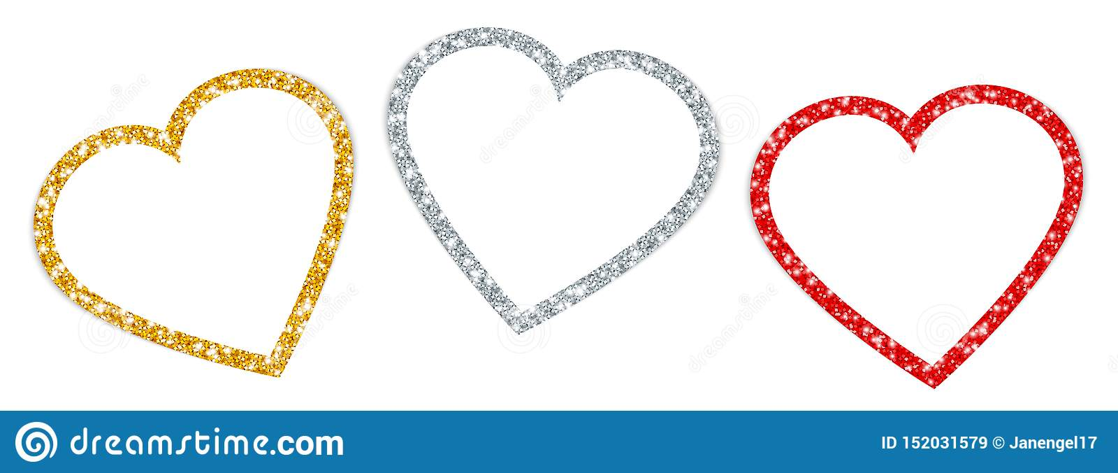 Stellen Sie drei gedrehte Herzen gestalten funkelndes Goldsilber-Rot ein