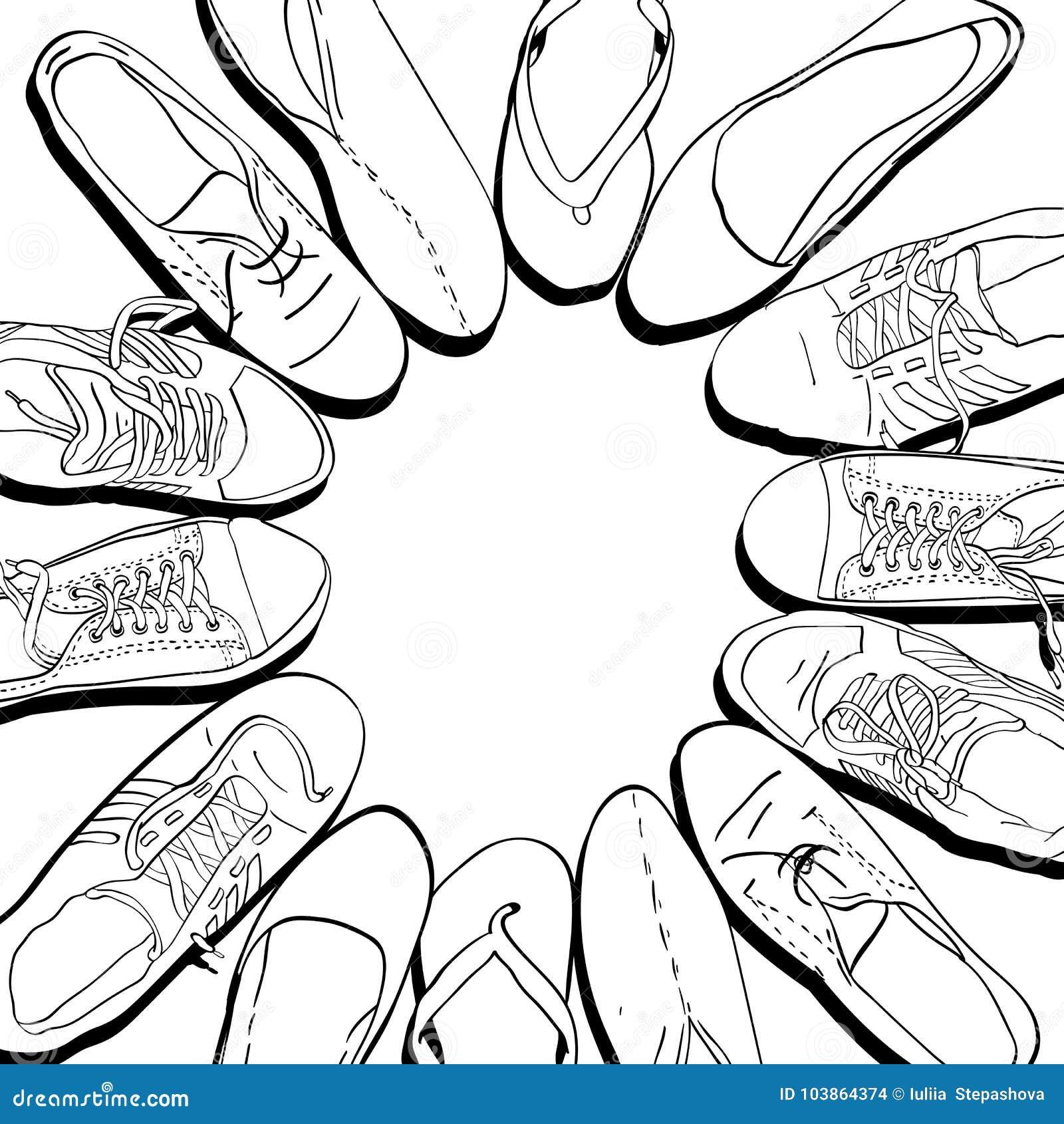 Stellen Sie Hand Gezeichnete Grafische Mann Und Frauen Schuhe