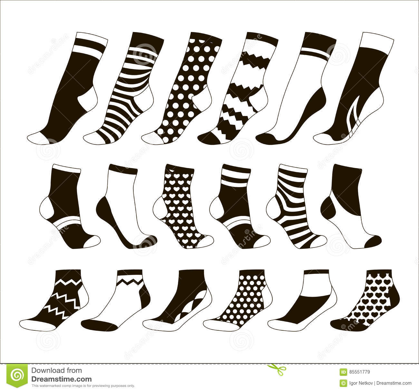 Stellen Sie Ikone von farbigen Socken ein