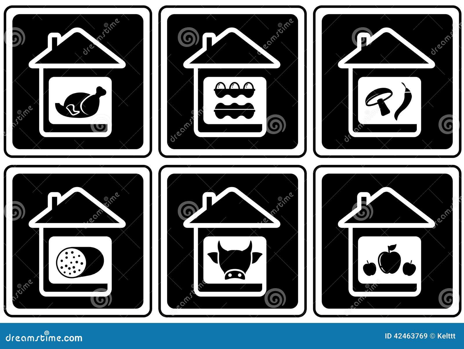 Stellen Sie Lebensmittelikonen auf Haus ein