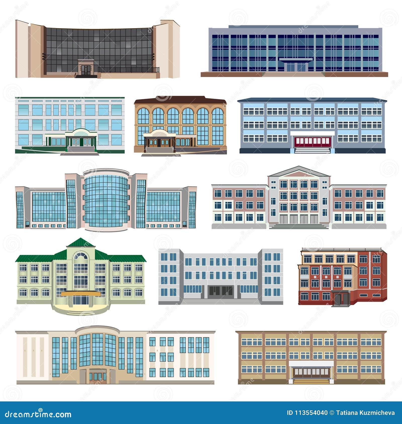Stellen Sie Mit Modernen Häusern, Häuschen Und Errichtender Ebene ...