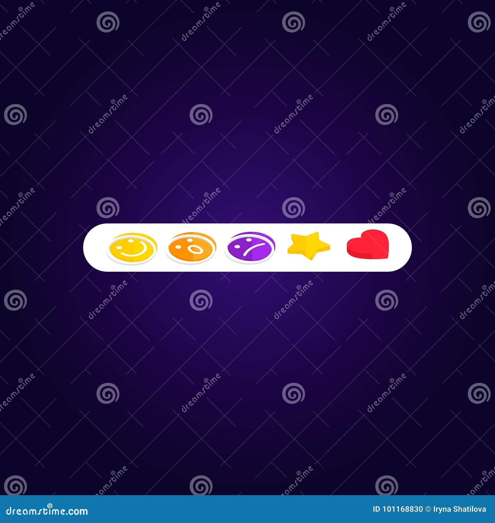 Stellen Sie Reaktionen Emoji Facebook wie Sozialikone ein Knopf für das Ausdrücken von Sozialsmiley