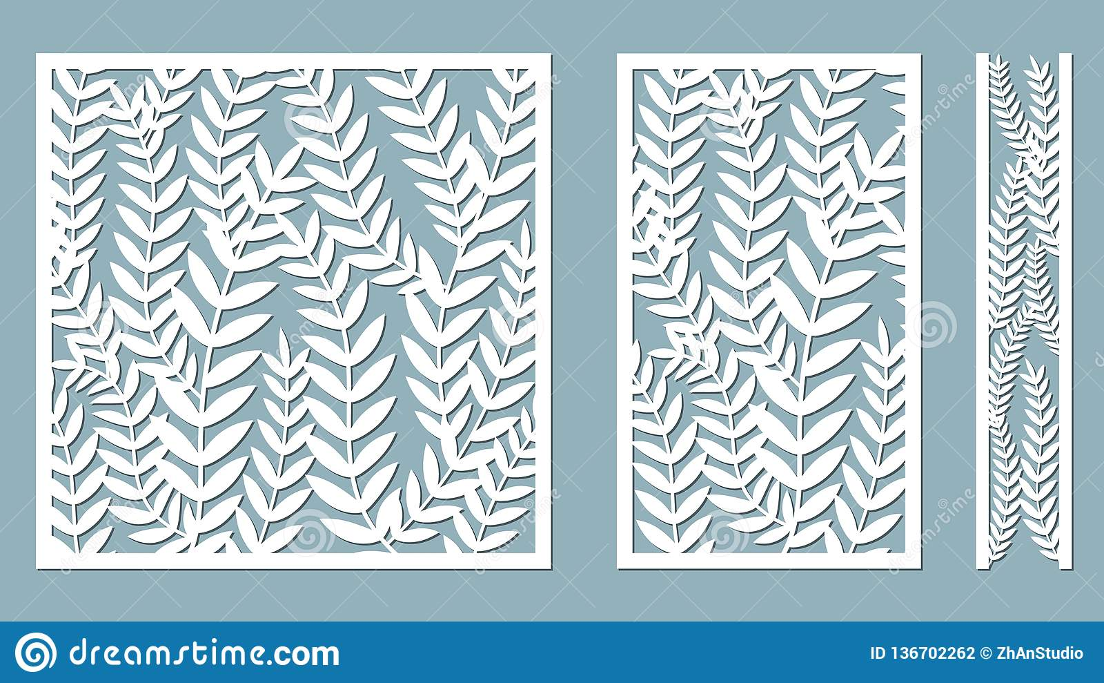 Stellen Sie Schablone für den Schnitt ein Farn verlässt Muster Laser-Schnitt Auch im corel abgehobenen Betrag Muster für den Lase
