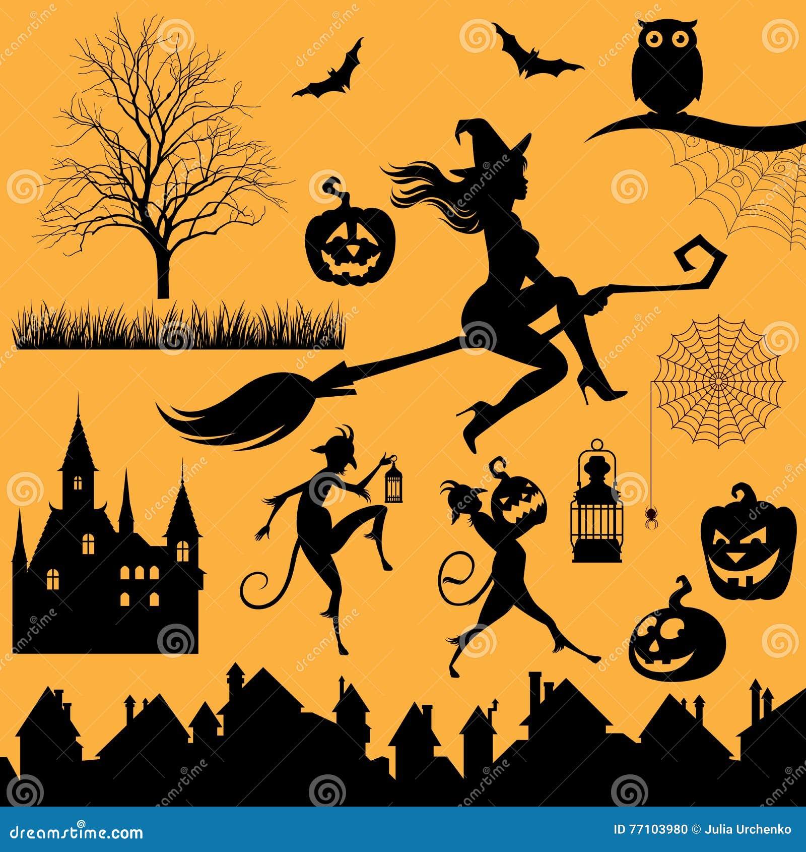 Halloween Thema.Stellen Sie Schattenbilder Von Gegenstanden Und Von