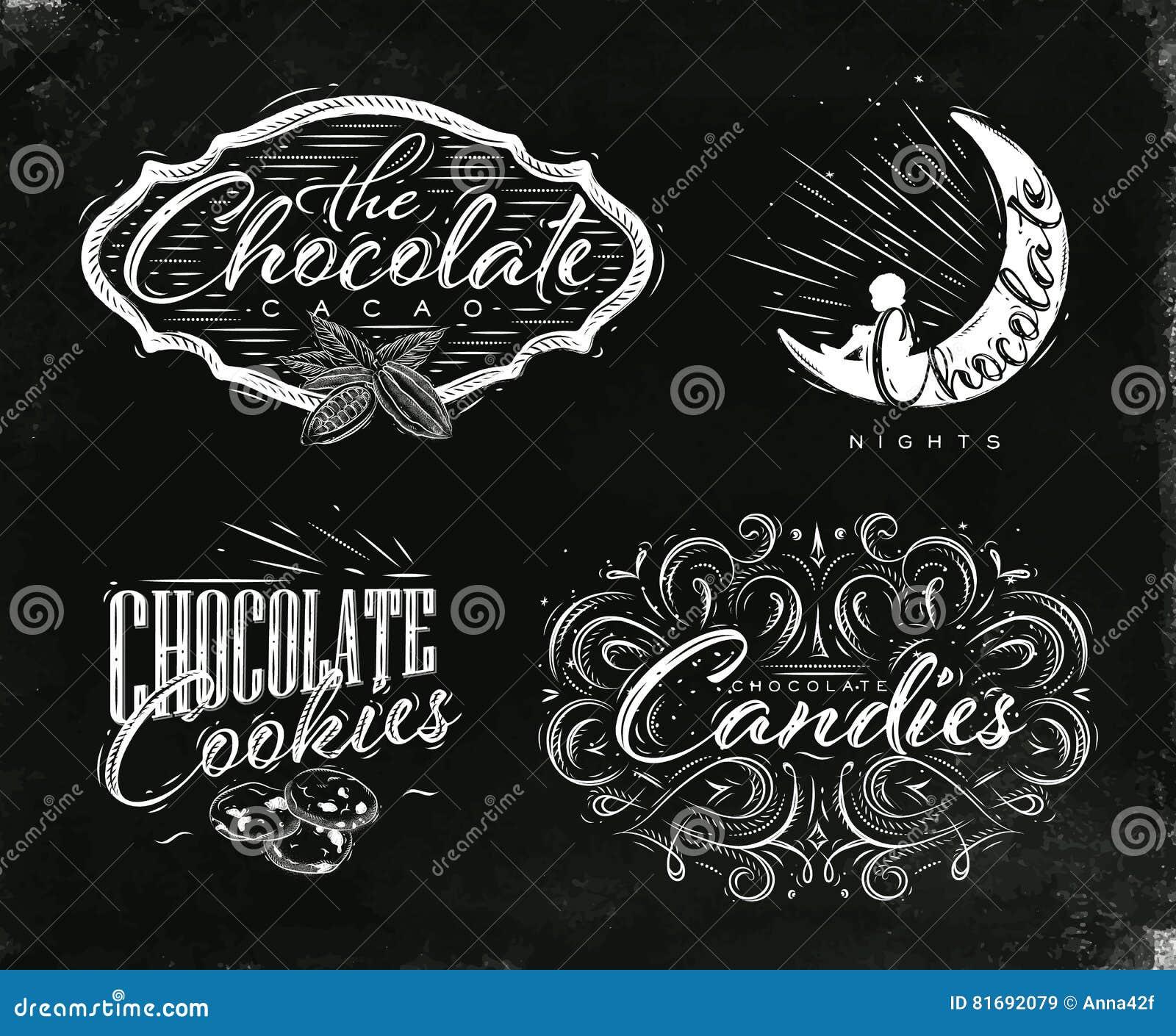 Stellen Sie Schokoladenaufkleberschwarzes ein