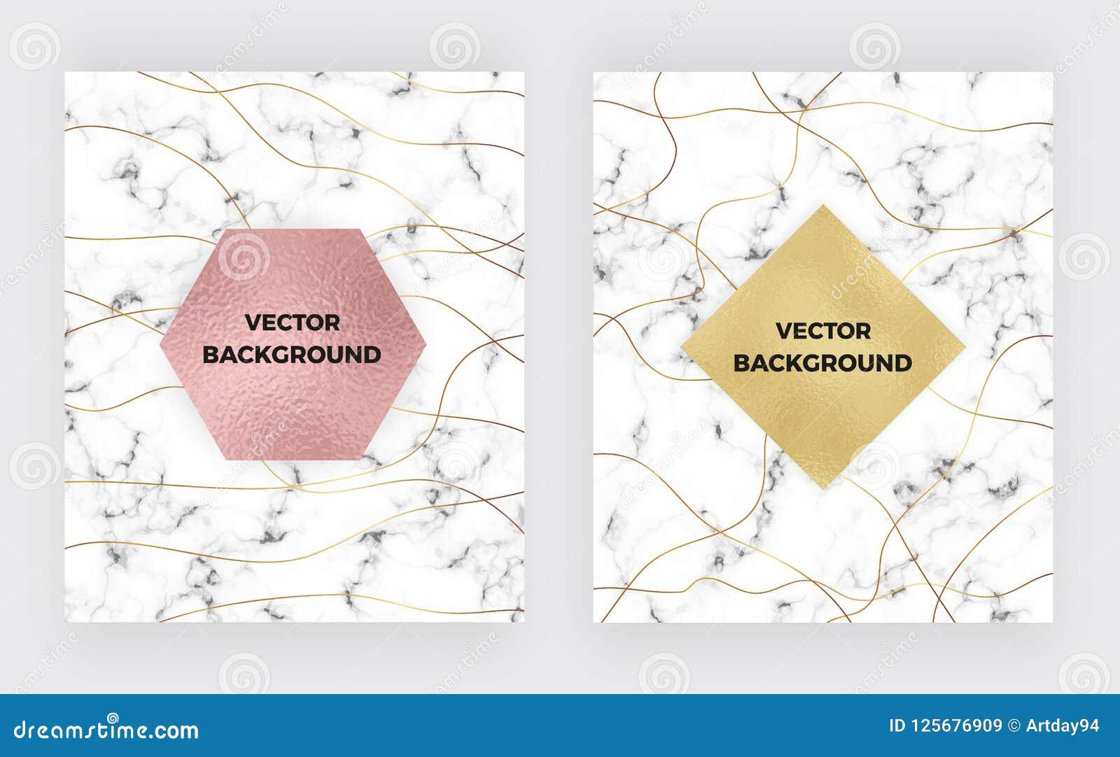 Stellen Sie unbedeutenden weißen Marmor mit Goldlinien und Folienbeschaffenheit ein Luxusabdeckung Schabloneen Umfassen Sie Desig