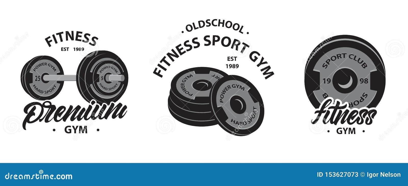 Stellen Sie vom Bodybuilding, von den Eignungsemblemen oder von den Logos mit Gewichtheben Barbell, Sportdisketten für Dummkopf e