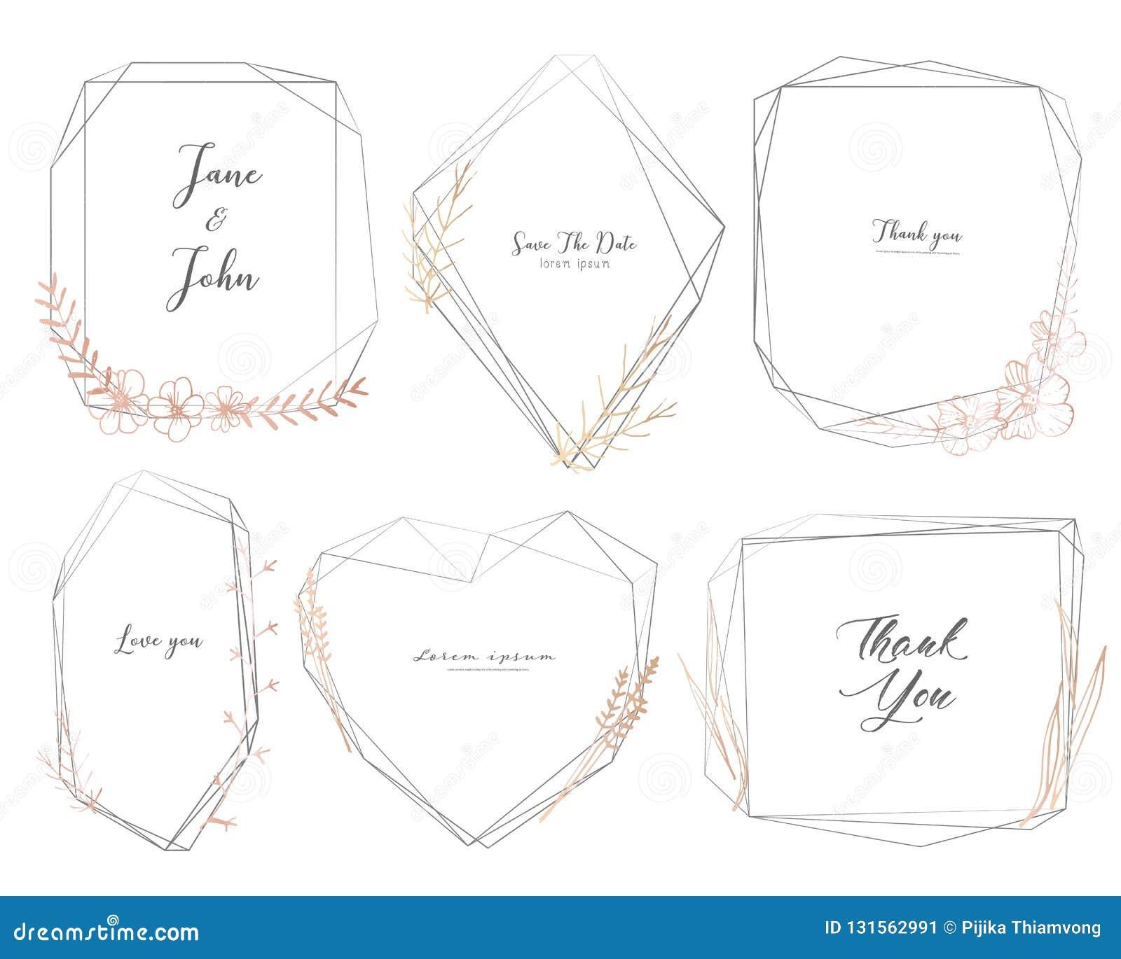 Stellen Sie vom geometrischen Rahmen, Handgezogene Blumen, botanische Zusammensetzung, dekoratives Element für Hochzeitskarte, Ei