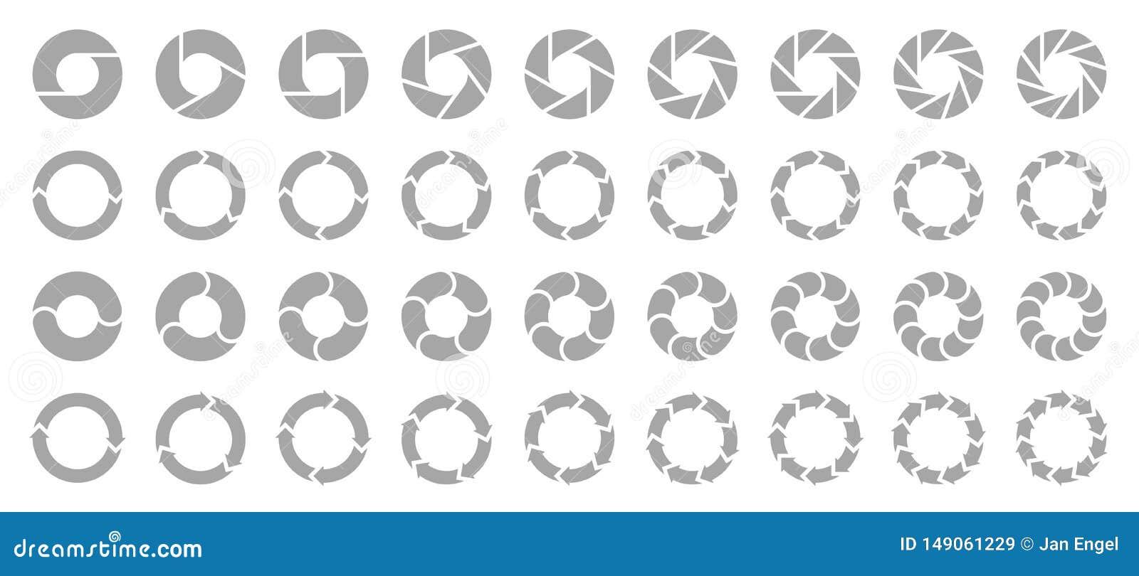 Stellen Sie vom unterschiedlichen Kreisdiagramm-Pfeil-Grau ein