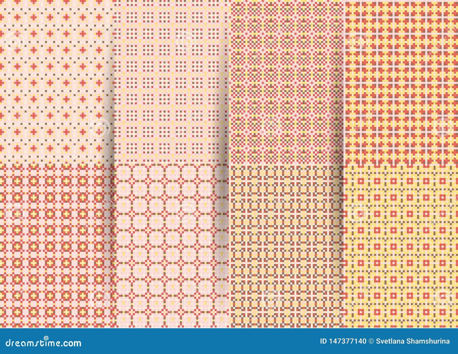 Stellen Sie von 6 abstrakten nahtlosen karierten geometrischen Mustern ein Vektorrosa geometrisches ackground f?r Gewebe, Drucke,
