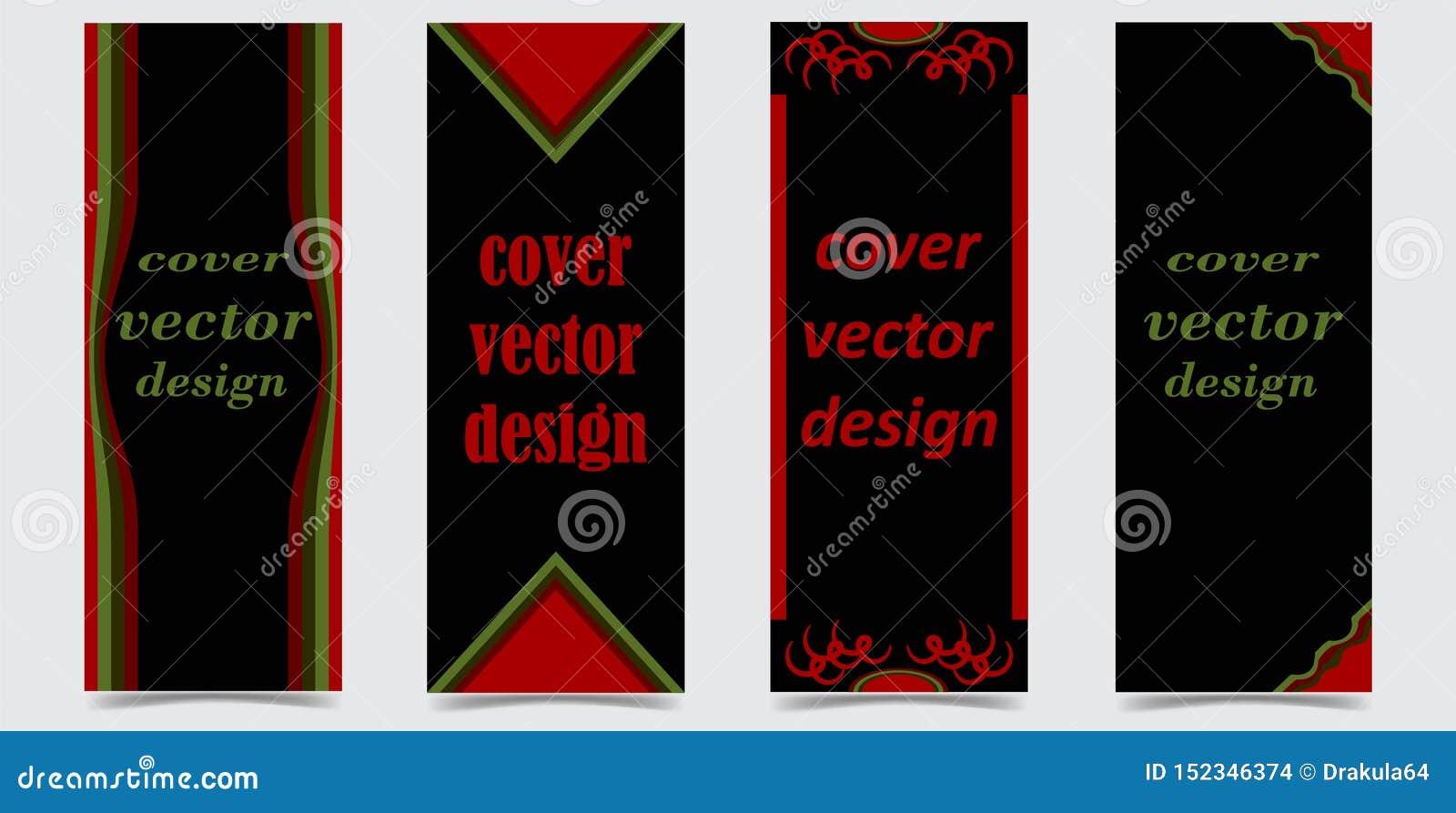 Stellen Sie von den Abdeckungen mit abstrakten Formen auf schwarzem Hintergrund ein