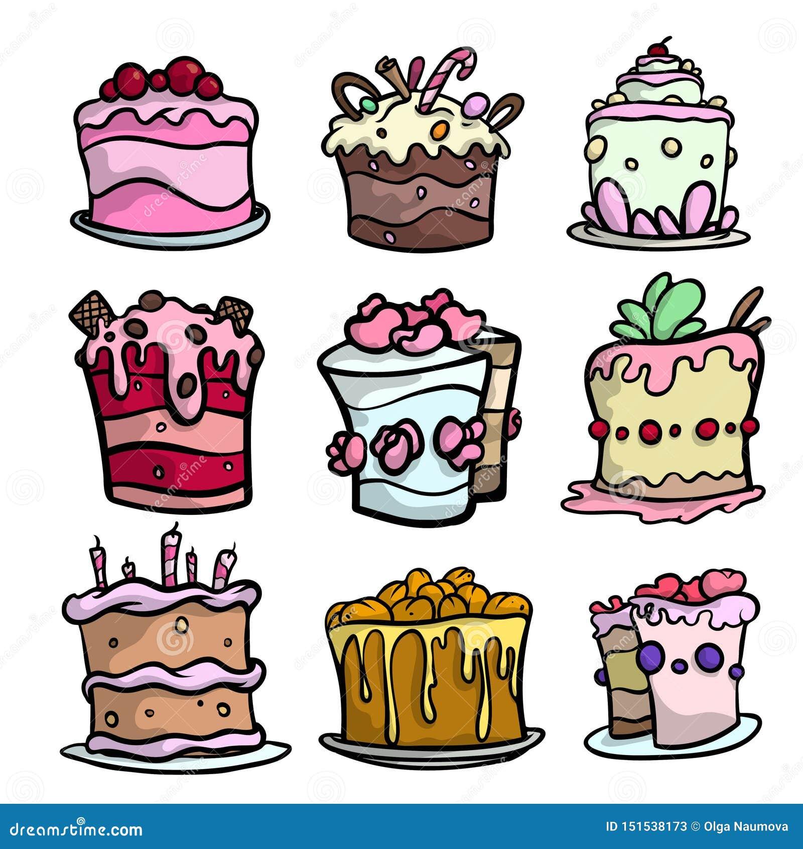 Stellen Sie von den bunten sahnigen Kuchen für unterschiedlichen festlichen Feiertag ein