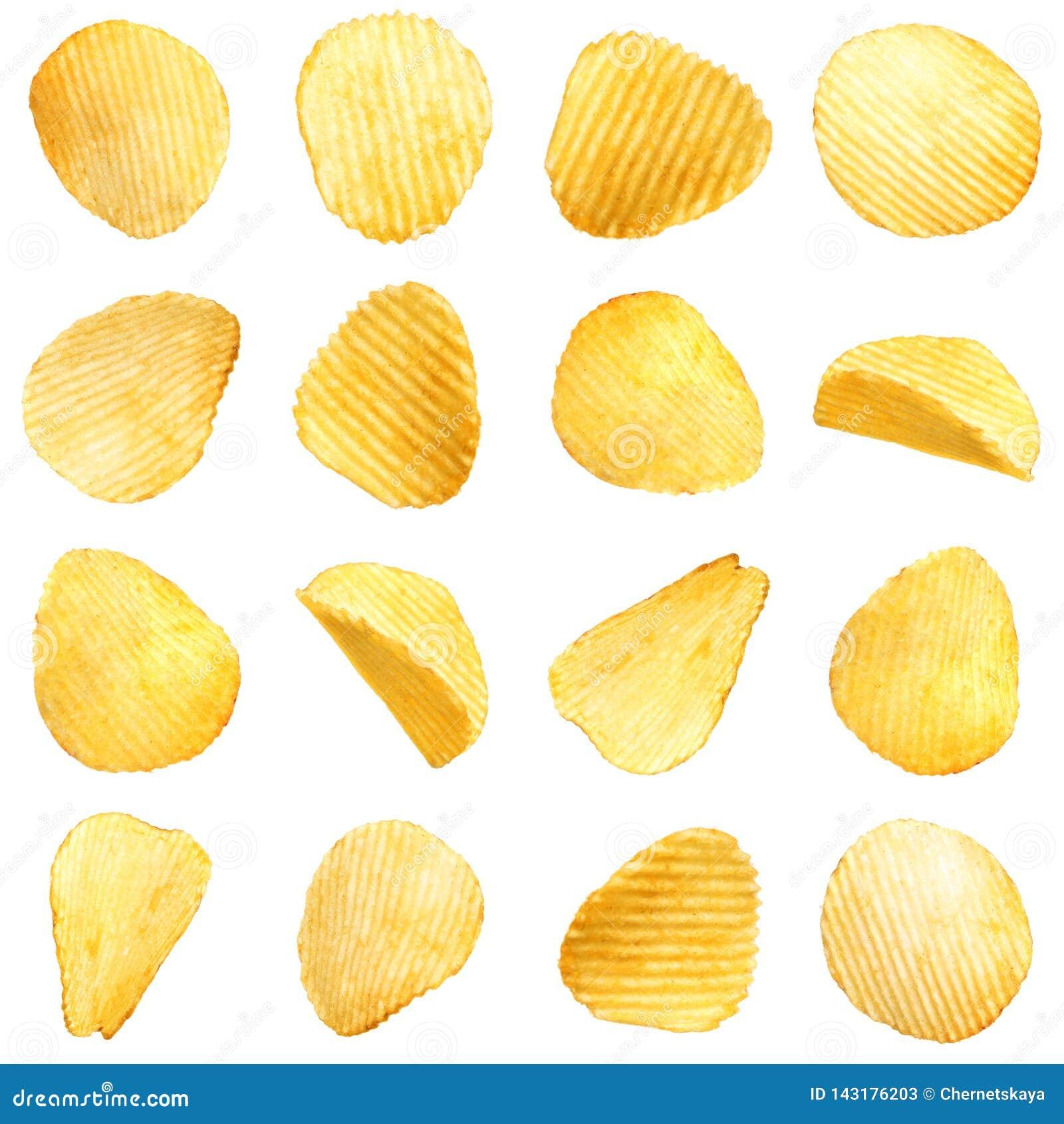 Stellen Sie von den geschmackvollen zerfurchten Kartoffelchips ein
