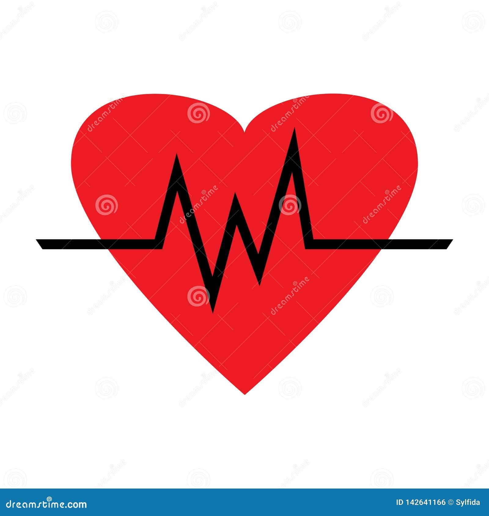 Stellen Sie Von Den Herzschlagikonen Ein Rotes Herz Mit
