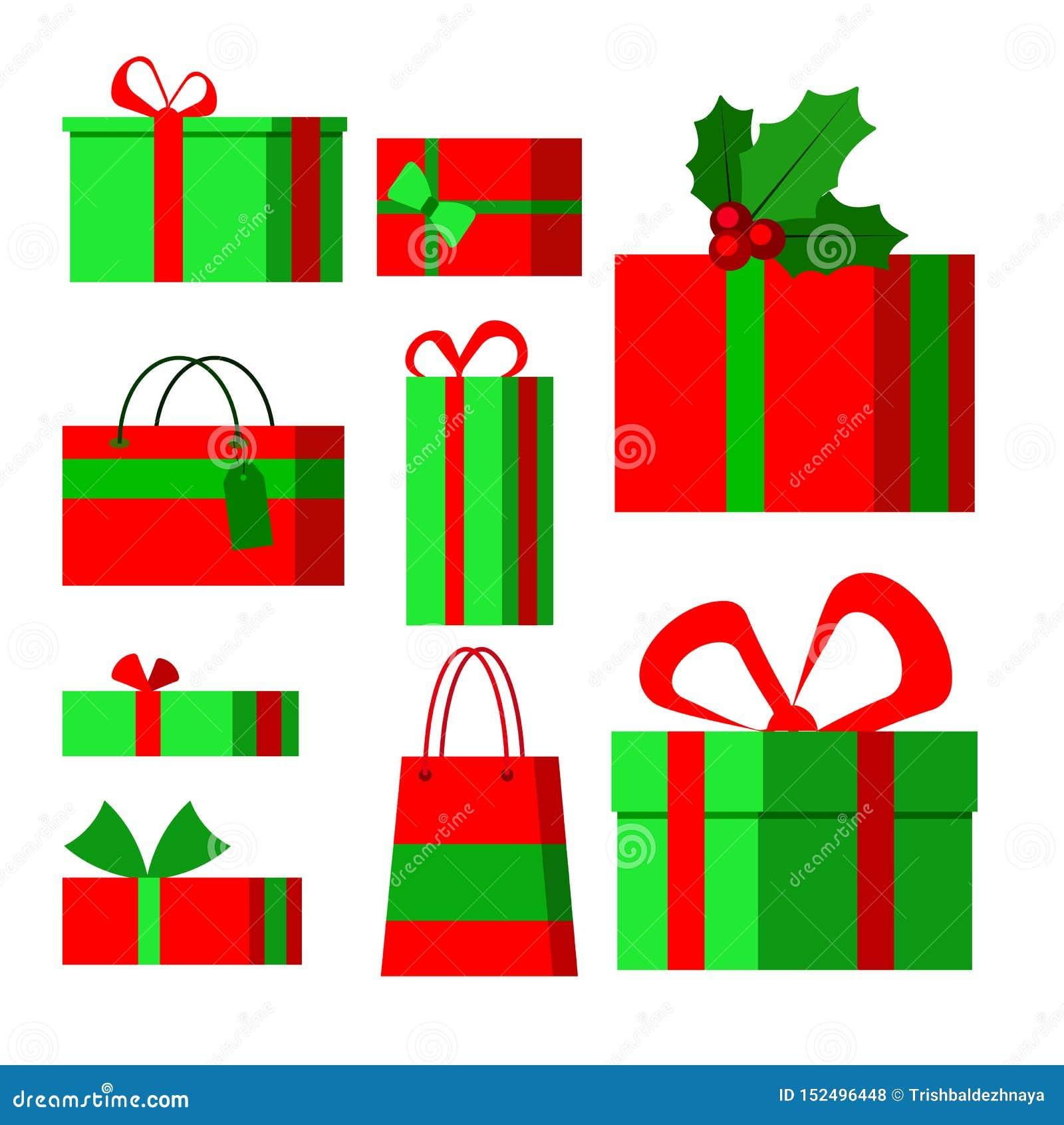 Stellen Sie von den Ikonen in der flachen Art der Karikatur für Weihnachten auf einem weißen Hintergrund ein