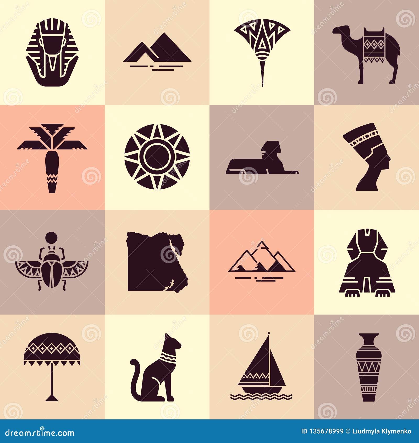 Stellen Sie von den Ikonen im Stil des flachen Entwurfs auf dem Thema von Ägypten ein