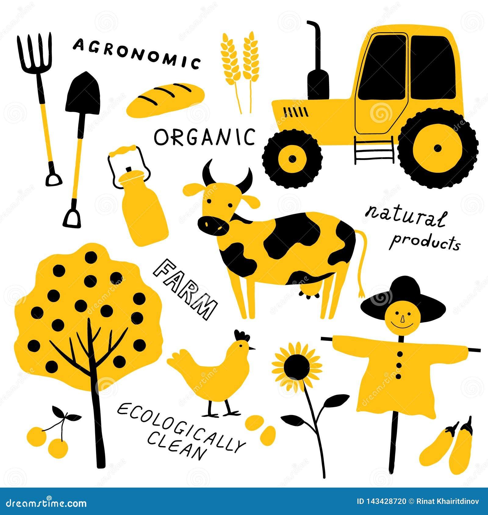 Stellen Sie von den landwirtschaftlichen und Bauernhofwerkzeugen, Tiere, Anlage und Maschinen ein farm Tier getrenntes Zeichen Lu
