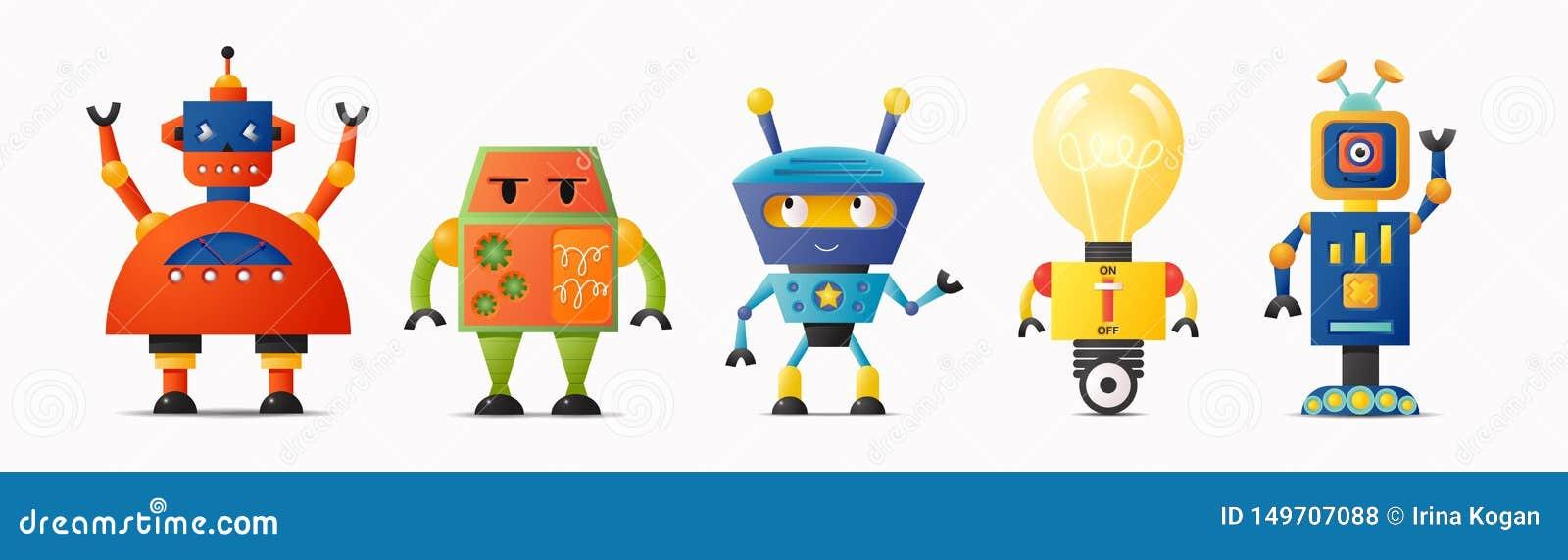 Stellen Sie von den netten Vektorrobotercharakteren für Kinder ein