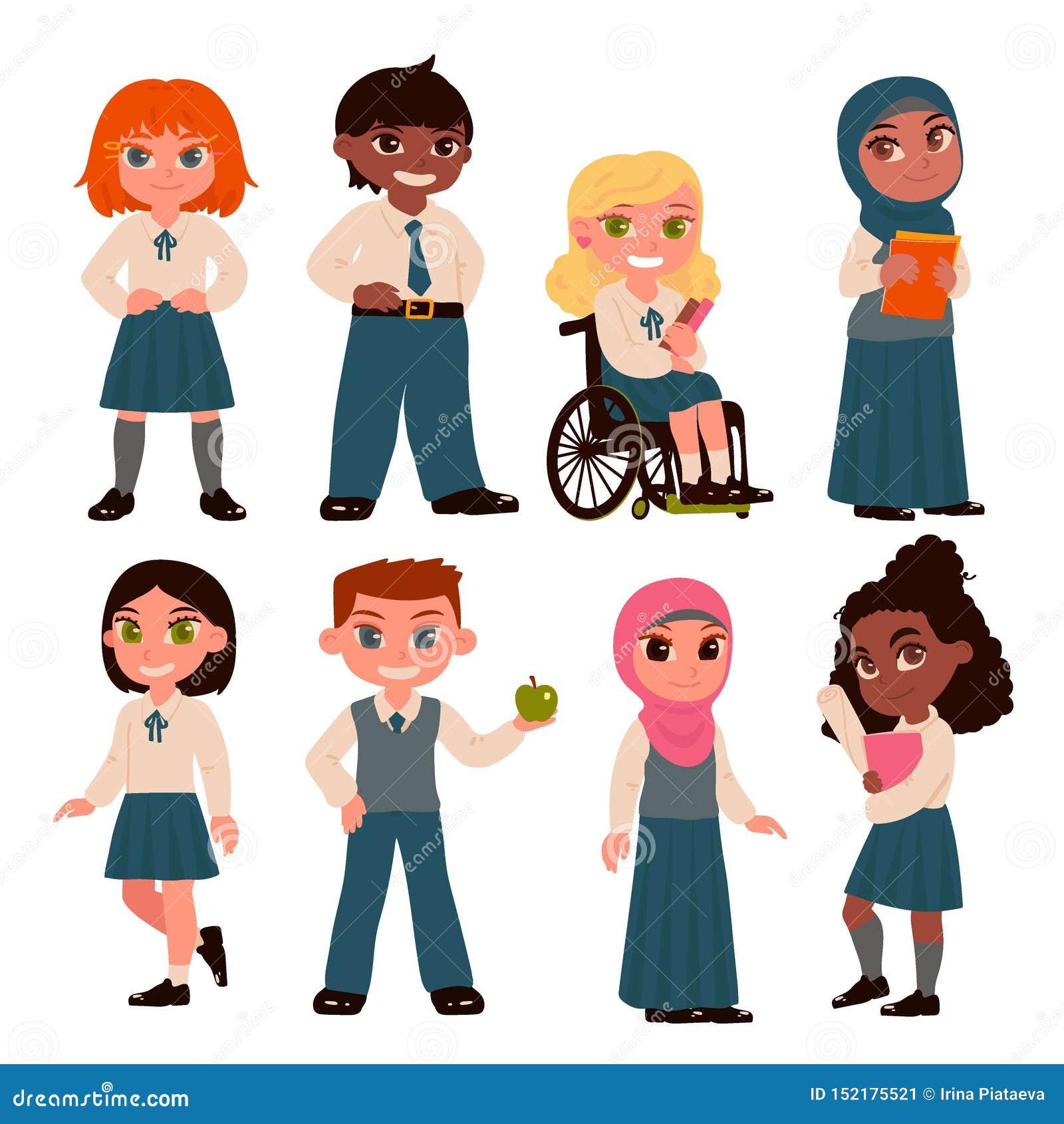 Stellen Sie von den Schulkindcharakteren ein, die auf weißem Hintergrund lokalisiert werden Schuluniform Auch im corel abgehobene