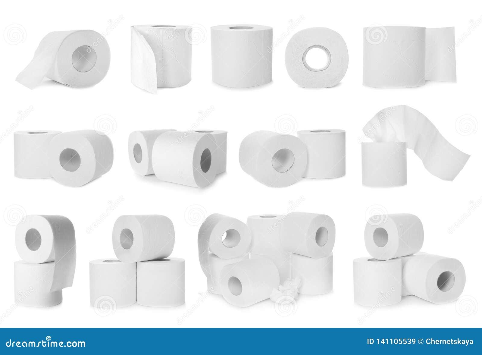 Stellen Sie von den Toilettenpapierrollen ein