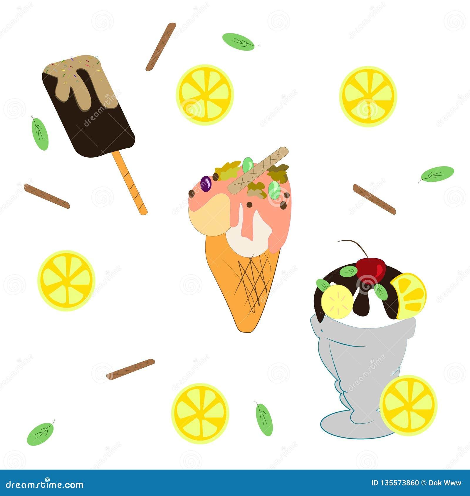 Stellen Sie von den verschiedenen Arten der Eiscreme ein