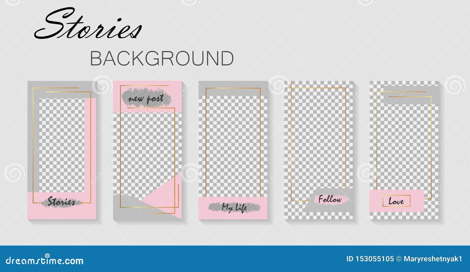 Stellen Sie von der instagram Geschichtenschablone ein Entwurfhintergründe für Social Media Plan, Abdeckung Schabloneen für Gesch