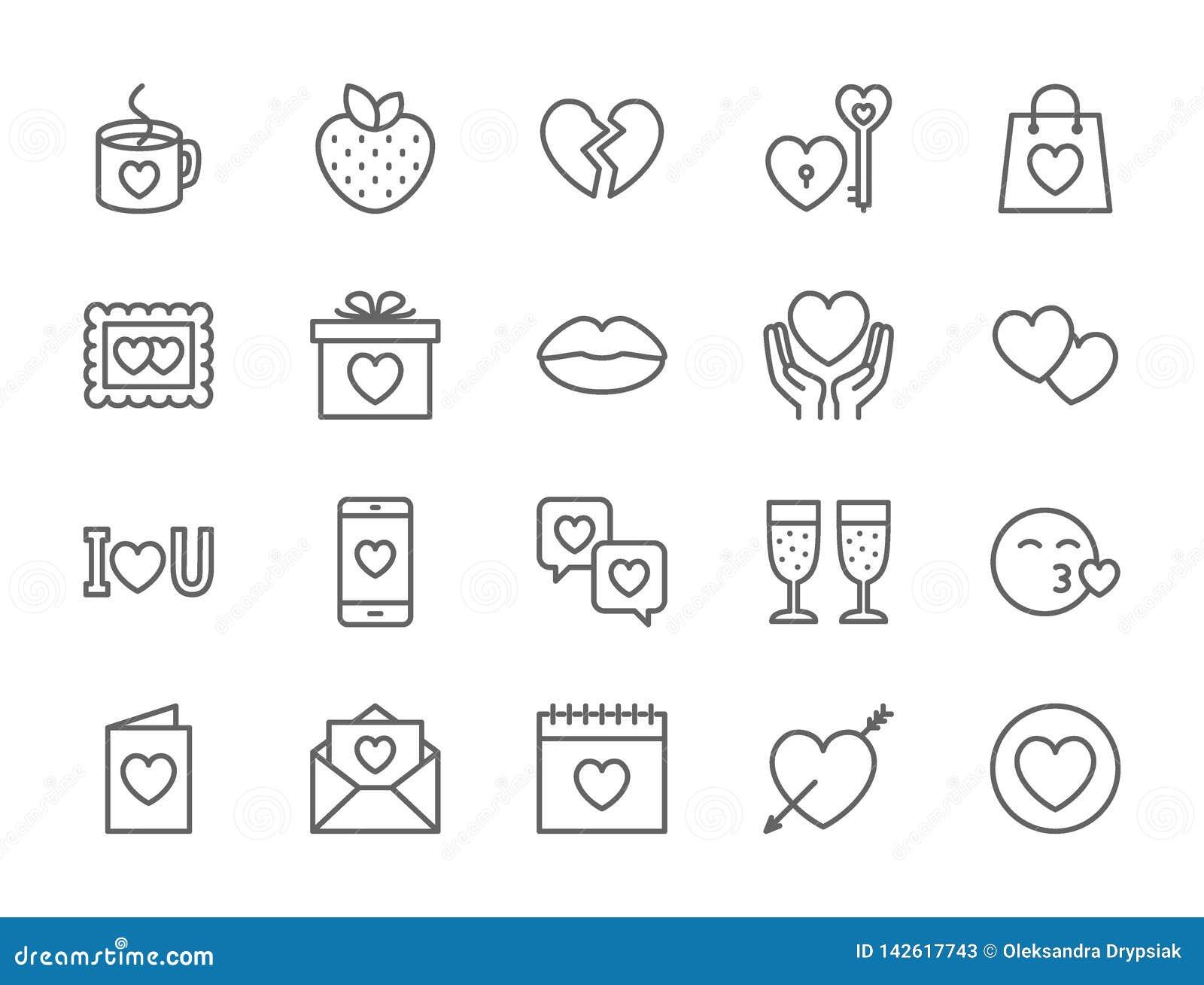 Stellen Sie von der Liebe und von der Valentinsgruß-Tageslinie Ikonen ein Herzen, Geschenk, Mitteilung, Kuss und mehr