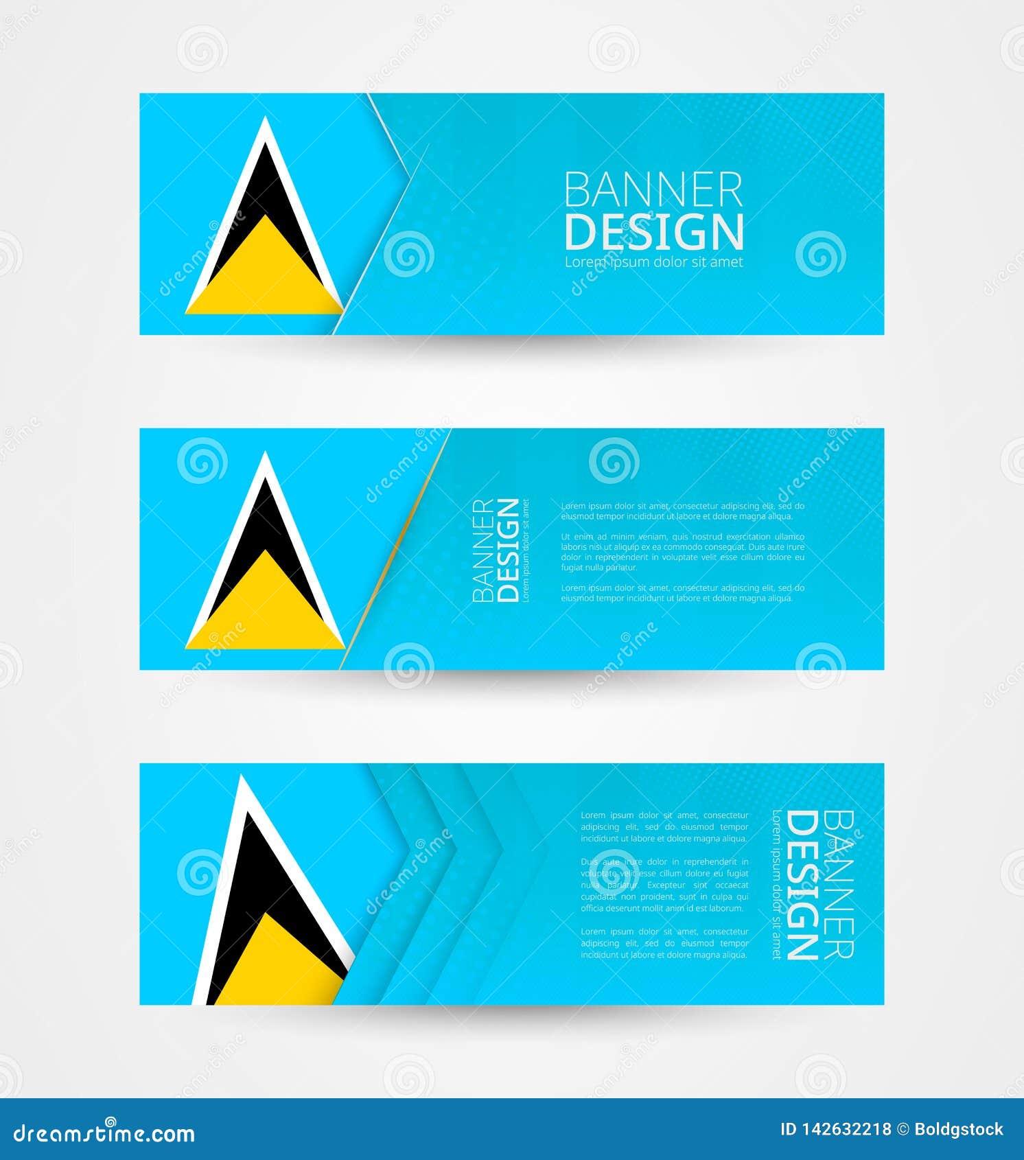 Stellen Sie von drei horizontalen Fahnen mit Flagge der St. Lucia ein Netzfahnen-Entwurfsschablone in der Farbe der St. Lucia-Fla