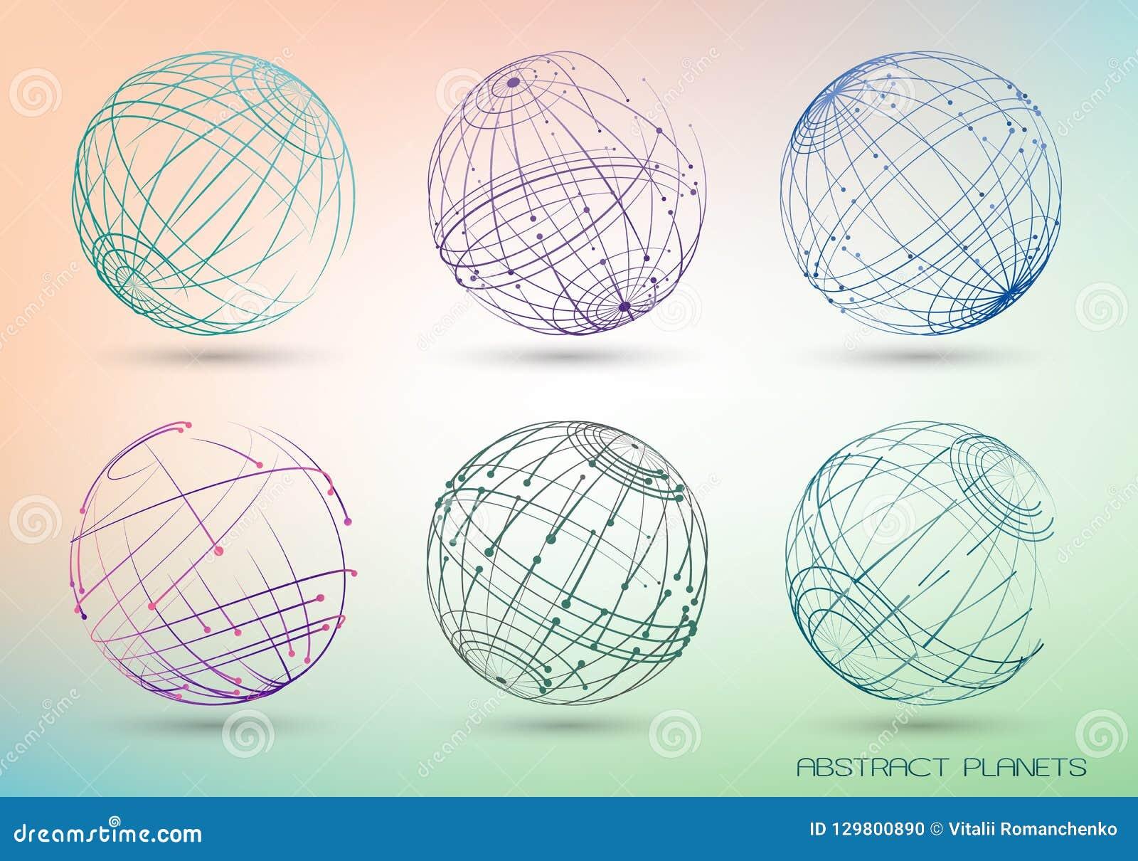 Stellen Sie von farbigen abstrakten Bildern von Planeten ein Geometrische Formen des Feldes von den Punkten und von den Linien