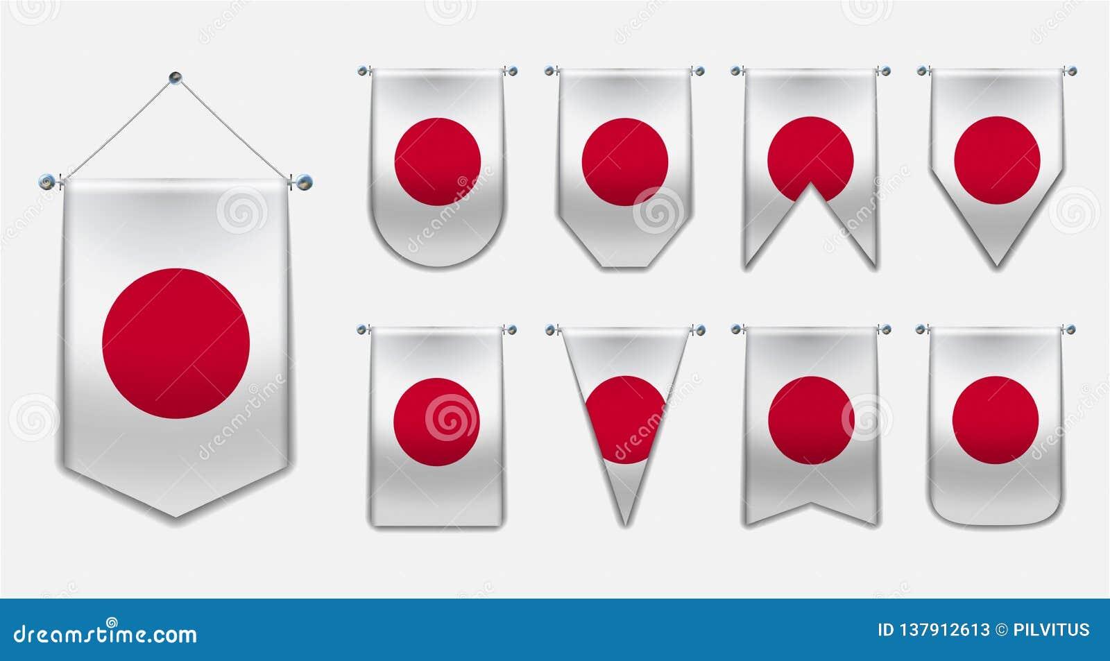Stellen Sie von hängenden Flaggen des JAPANS mit Textilbeschaffenheit ein Verschiedenartigkeitsformen des Staatsflaggelandes Vert