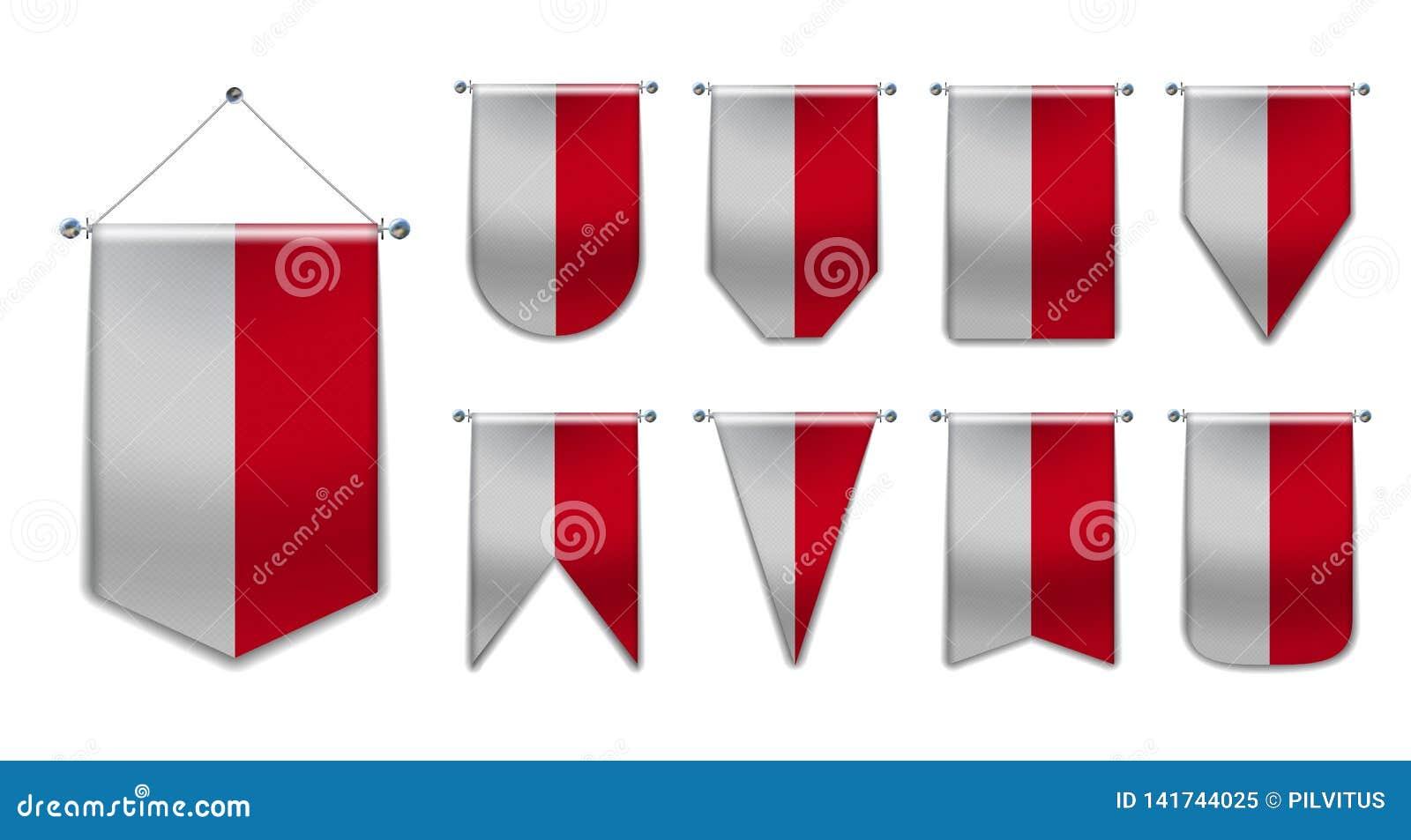 Stellen Sie von h?ngenden Flaggen des Monacos mit Textilbeschaffenheit ein Verschiedenartigkeitsformen des Staatsflaggelandes Ver