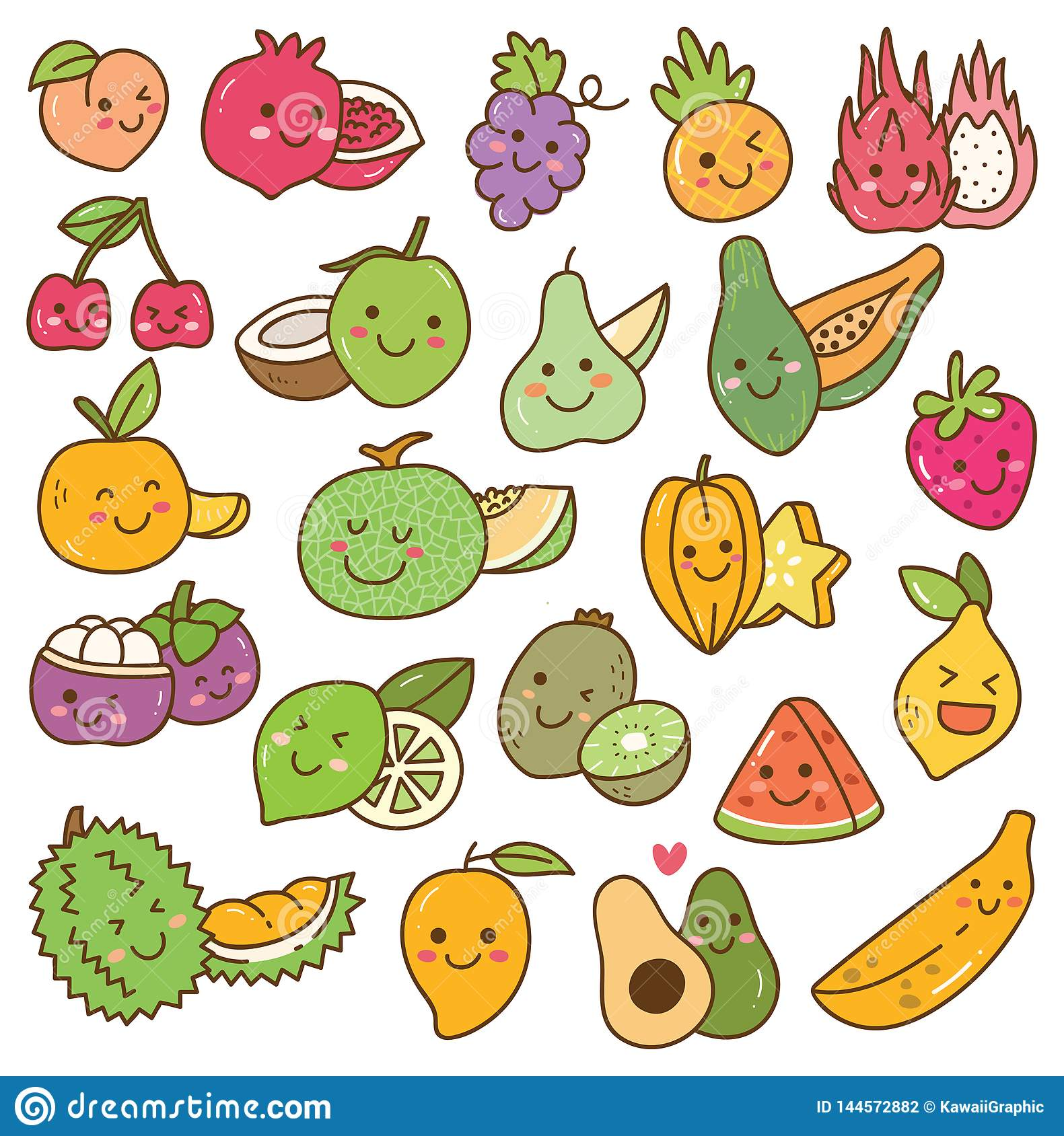Stellen Sie von kawaii Frucht auf weißem Hintergrund ein