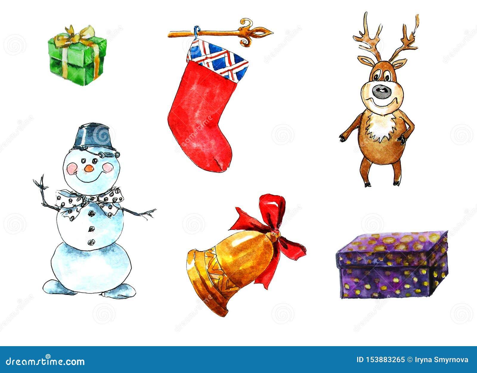 Stellen Sie von lokalisierten Elementen auf dem Weihnachtsmotiv ein Geschenkbox, Schneemann, Rotwild, Weihnachtssocke, Glocke Aqu