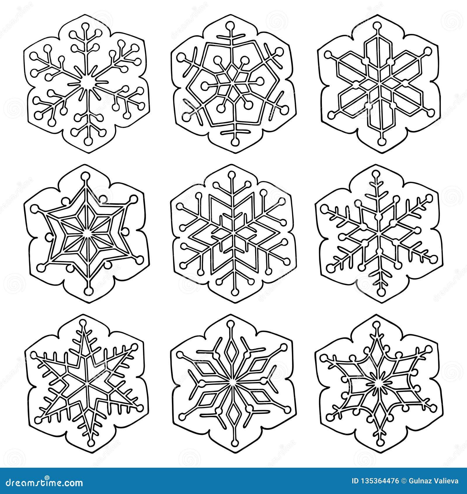 Stellen Sie von sechs-spitzen Schneeflocken der Vektorzusammenfassung ein