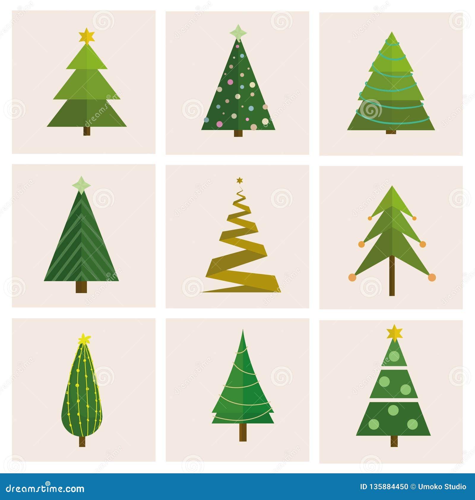 Stellen Sie von unterschiedlichem, Weihnachtsbäume ein Kann für Grußkarte, Einladung, Fahne, Webdesign verwendet werden
