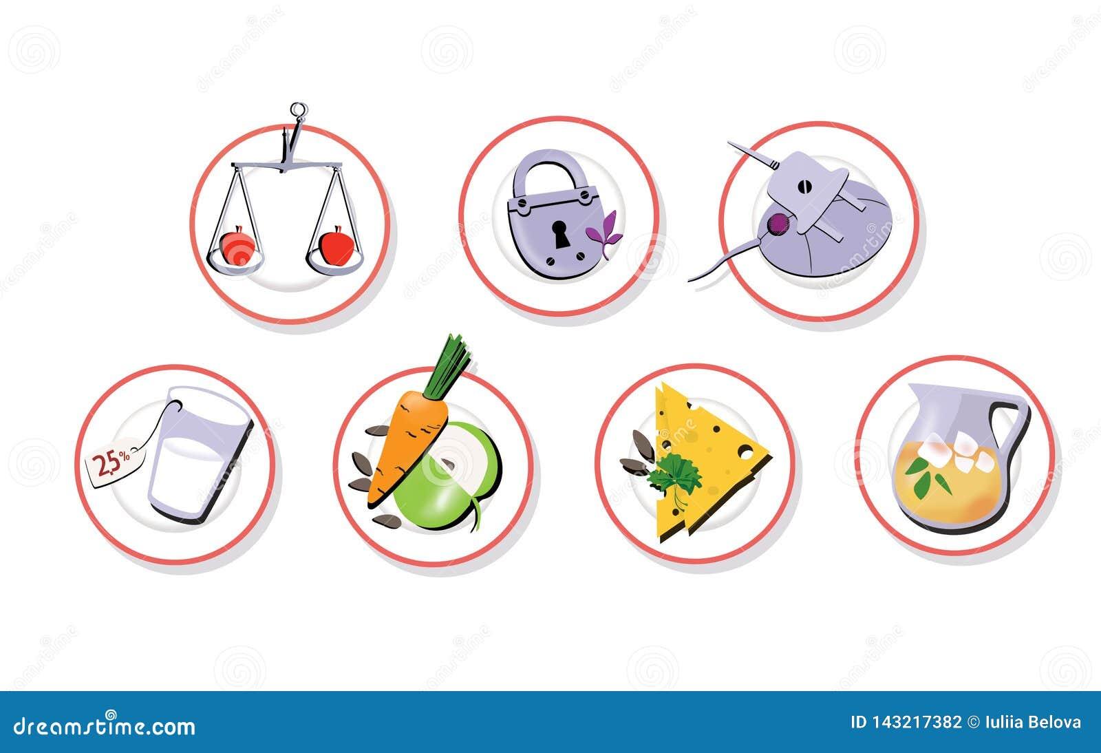 Stellen Sie von 7 Zeichen ein Platten mit Diätnahrung Abnehmen von Systemen Verringerter Appetit und Gewicht Getrennt auf weißem